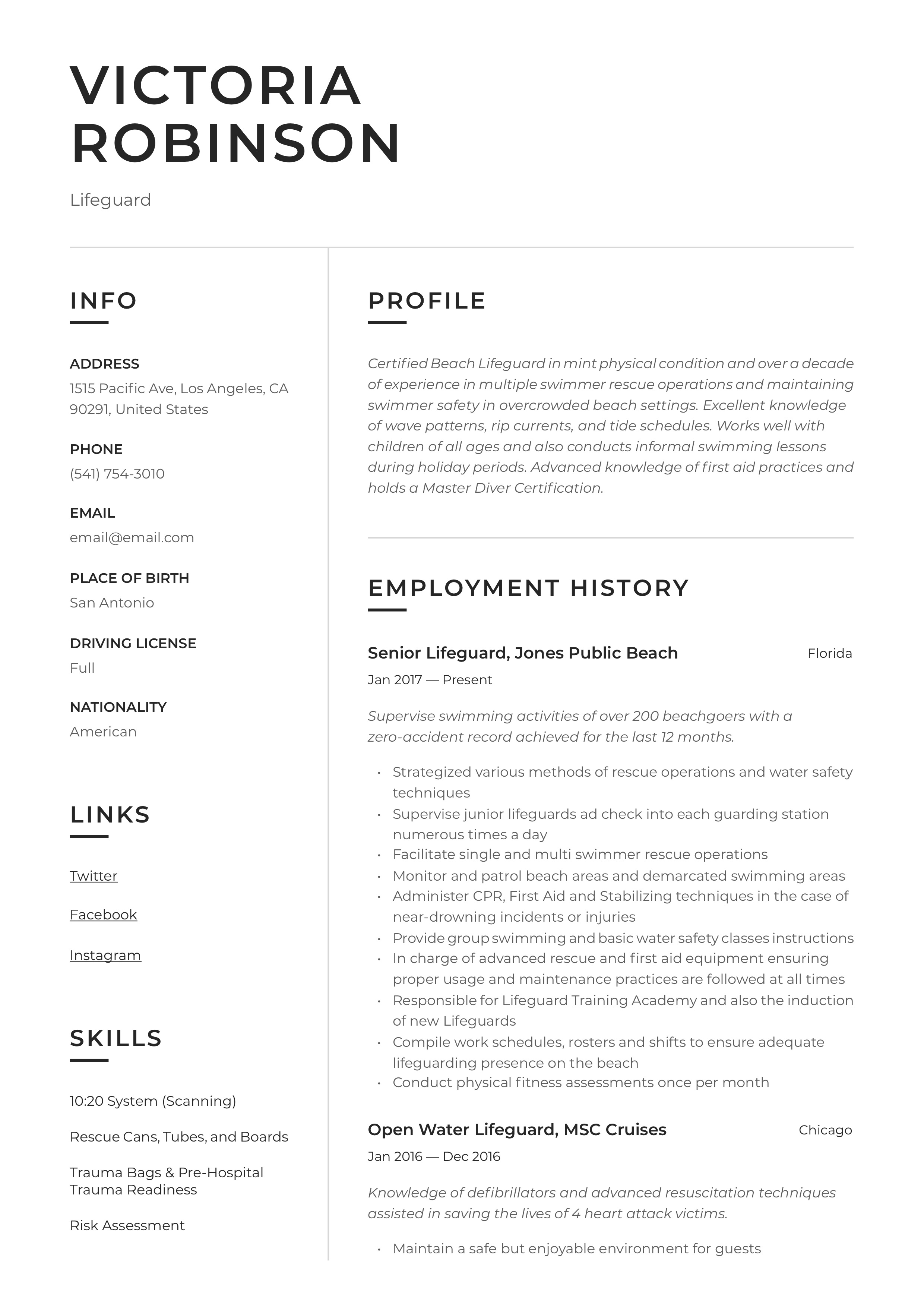 Sample resume for a lifeguard help with my political science report