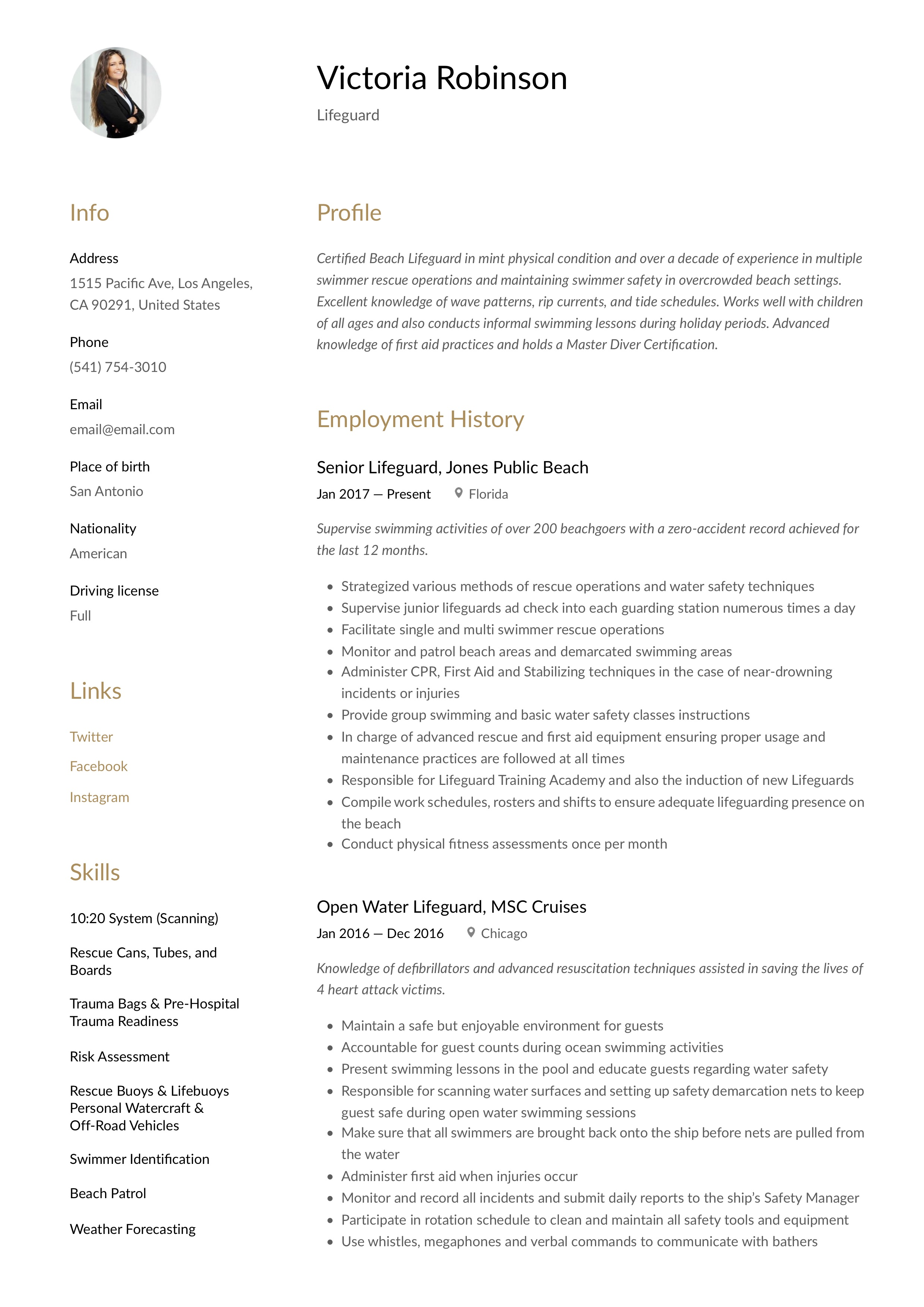 lifeguard resume  u0026 writing guide