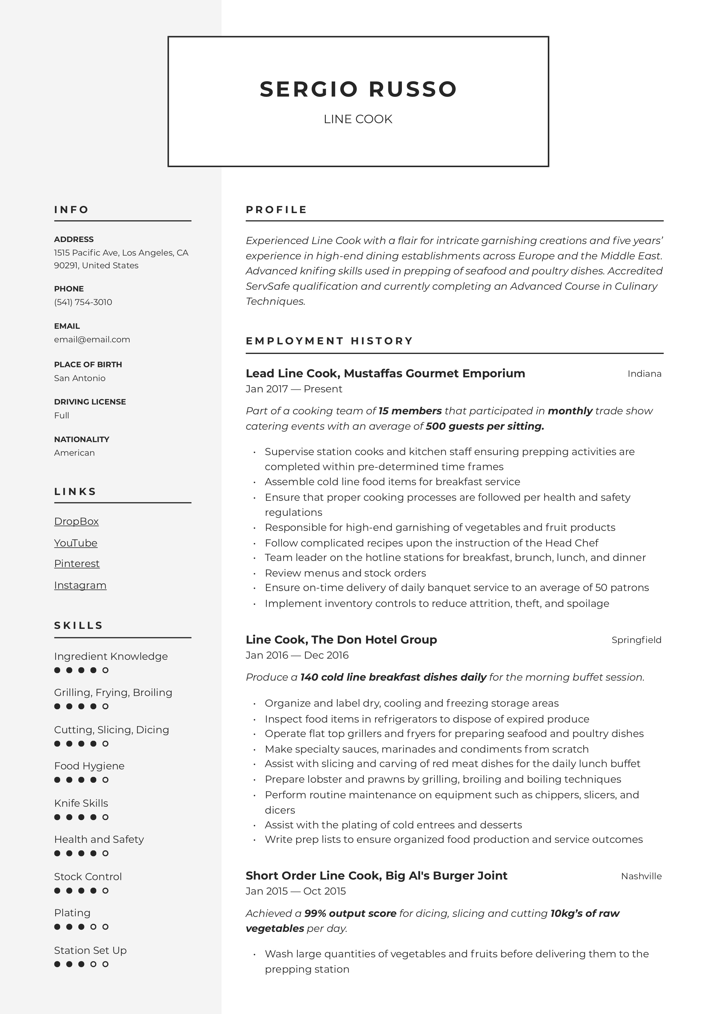 Resume Template Line Cook