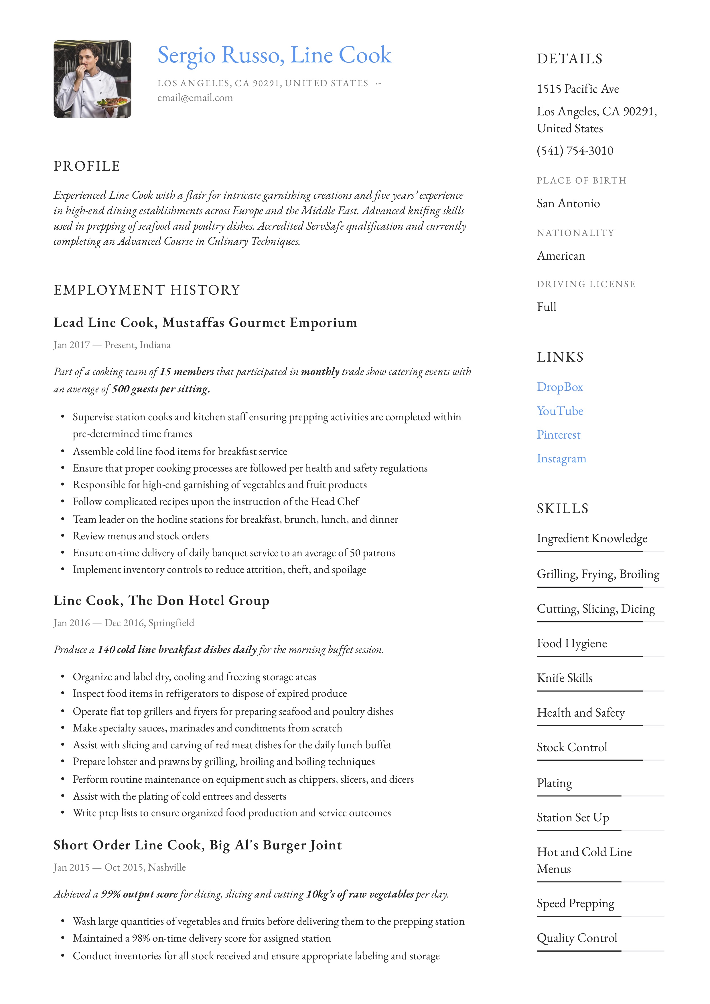 Resume Example Line Cook