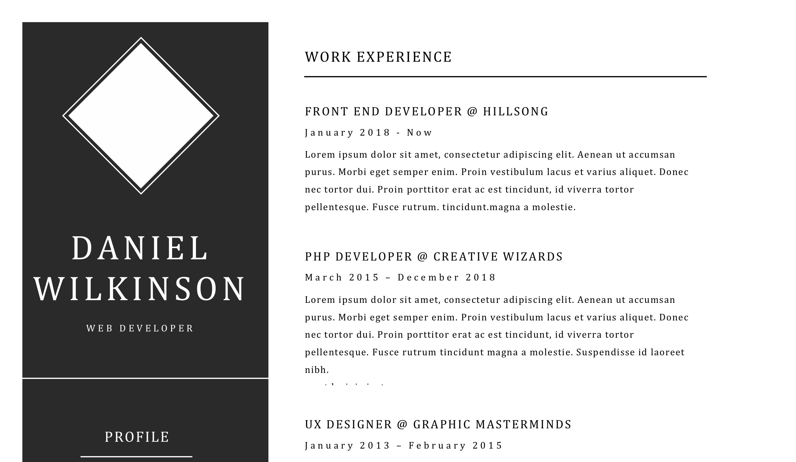 Minimal black and white resume doc