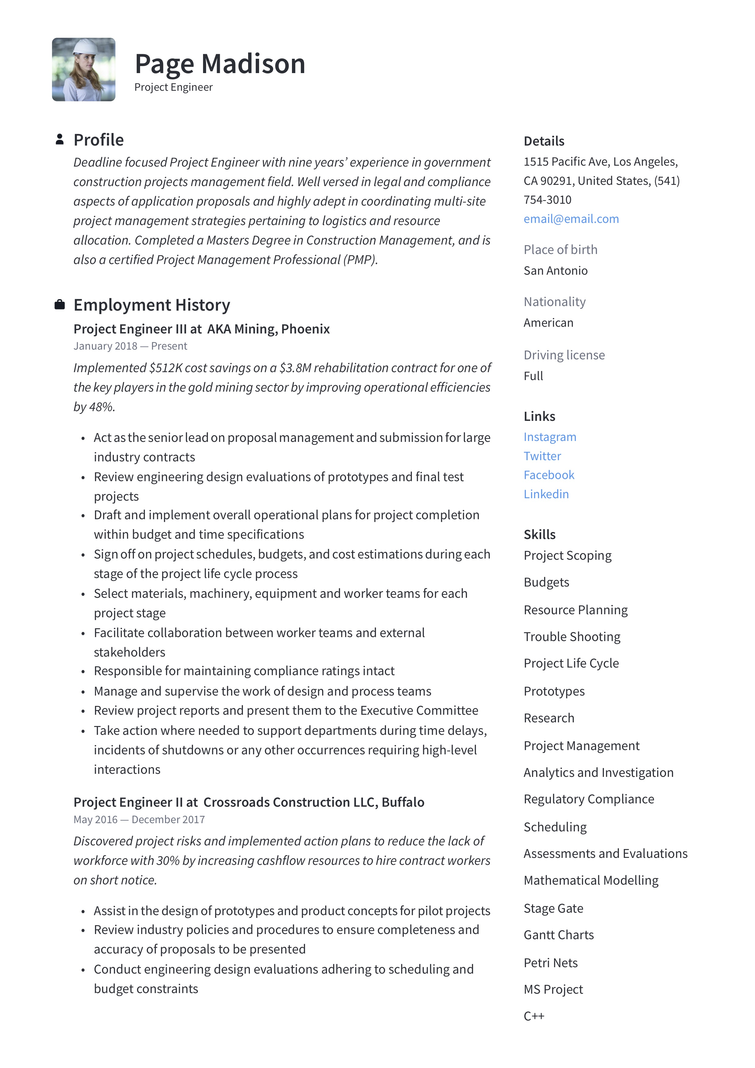 Project Engineer Resume Writing Guide 12 Resume Examples 2020
