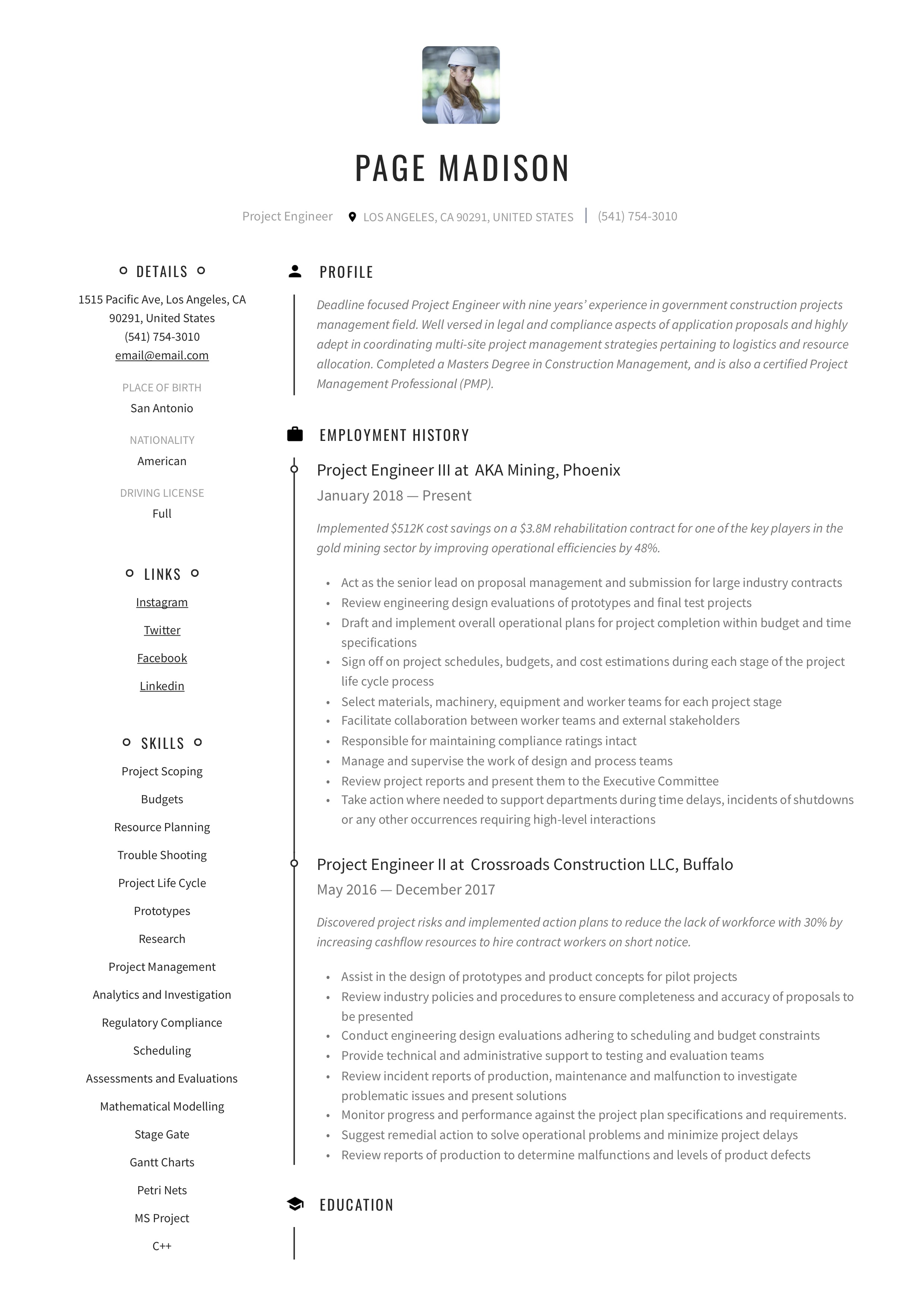 Resume Template Project Engineer