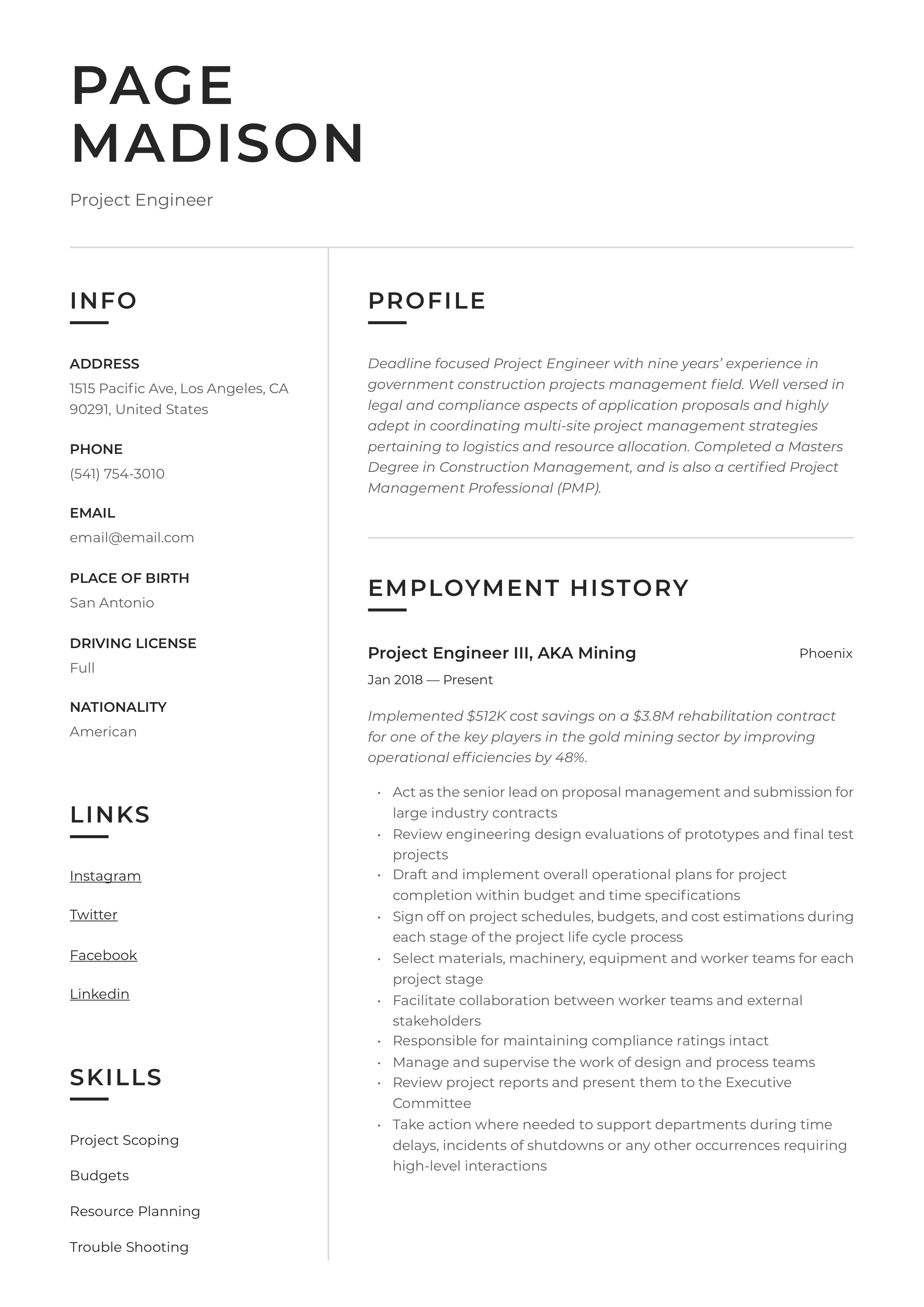 Resume Example Project Engineer