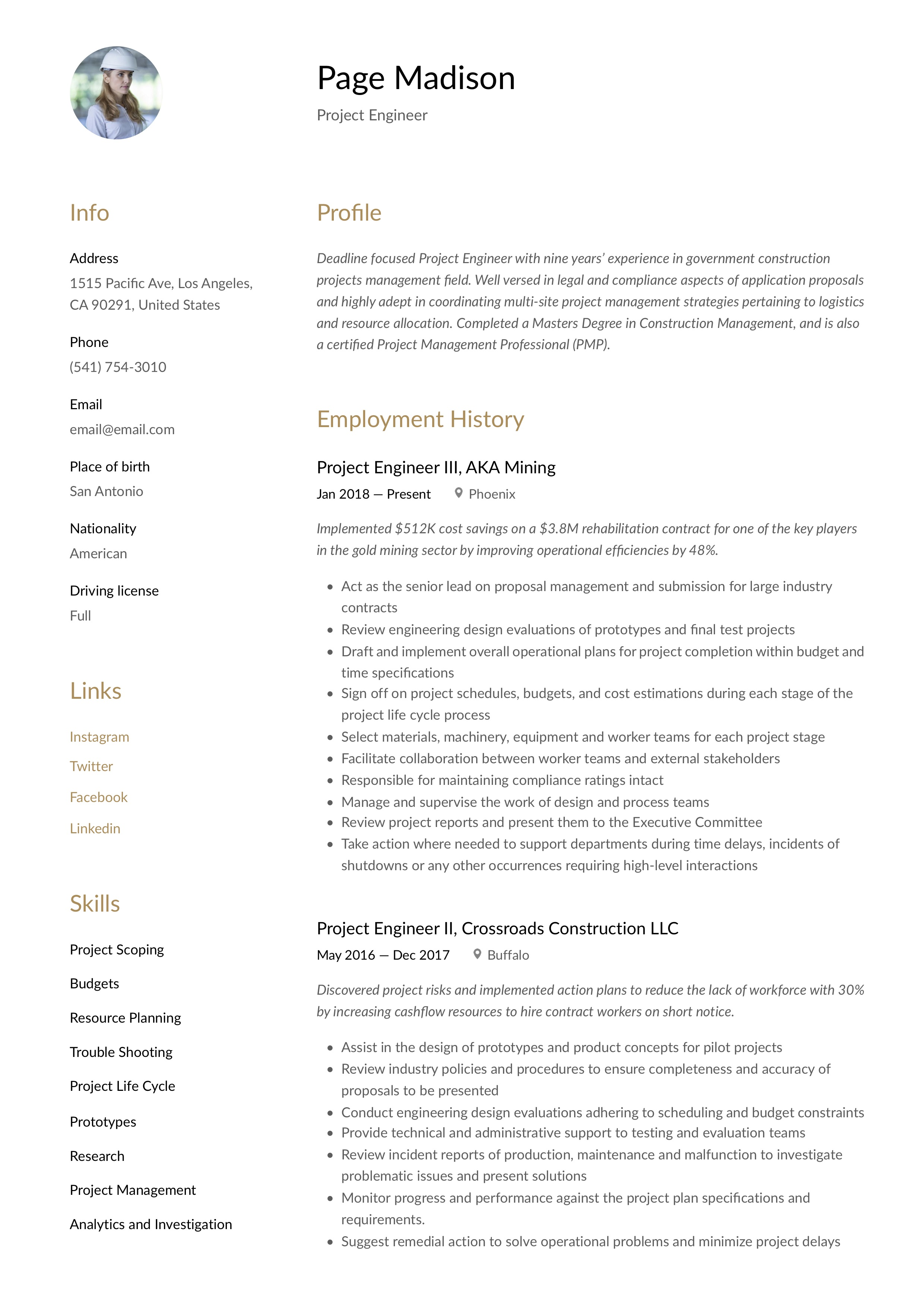project engineer resume  u0026 writing guide