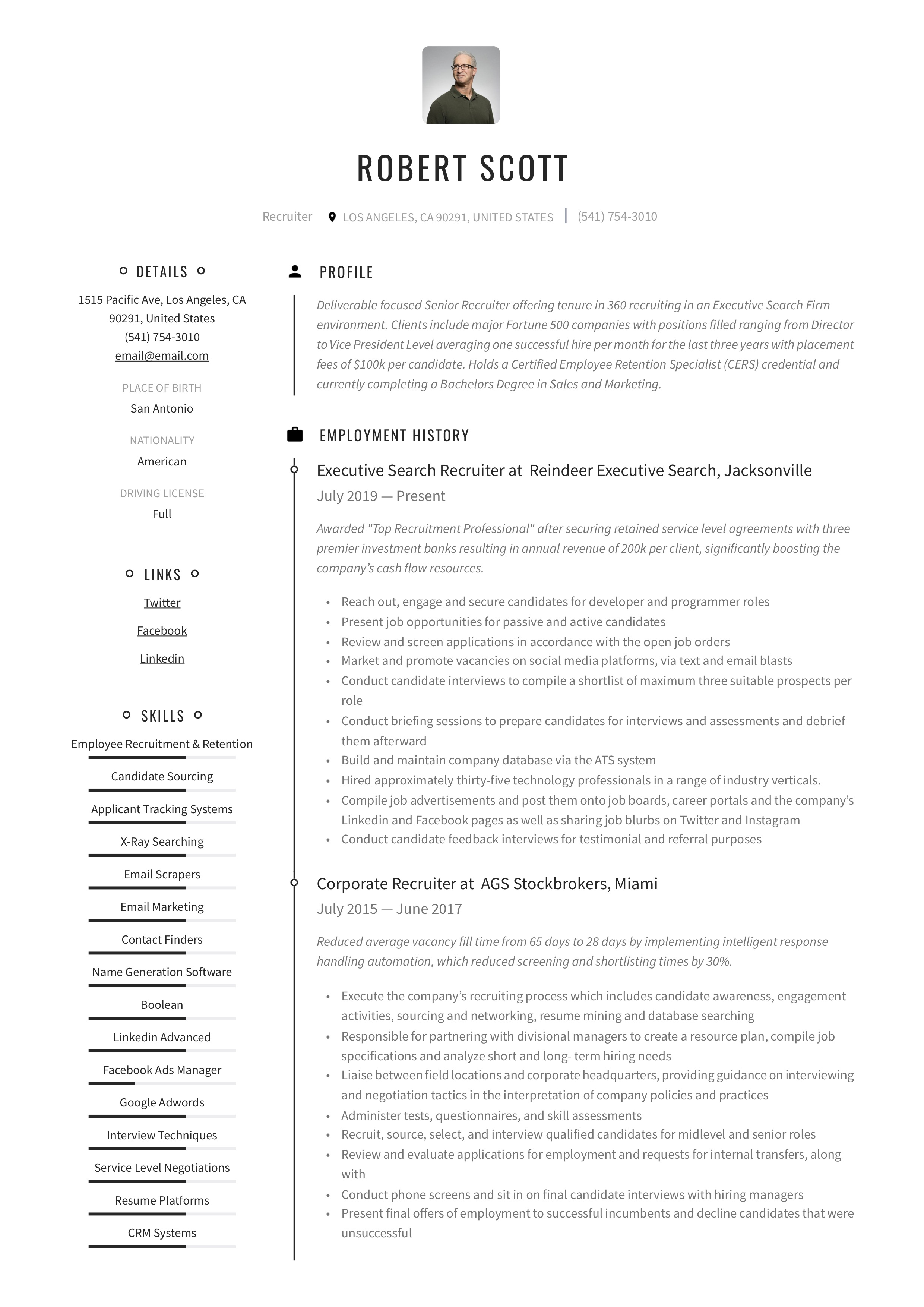 Resume Template Recruiter
