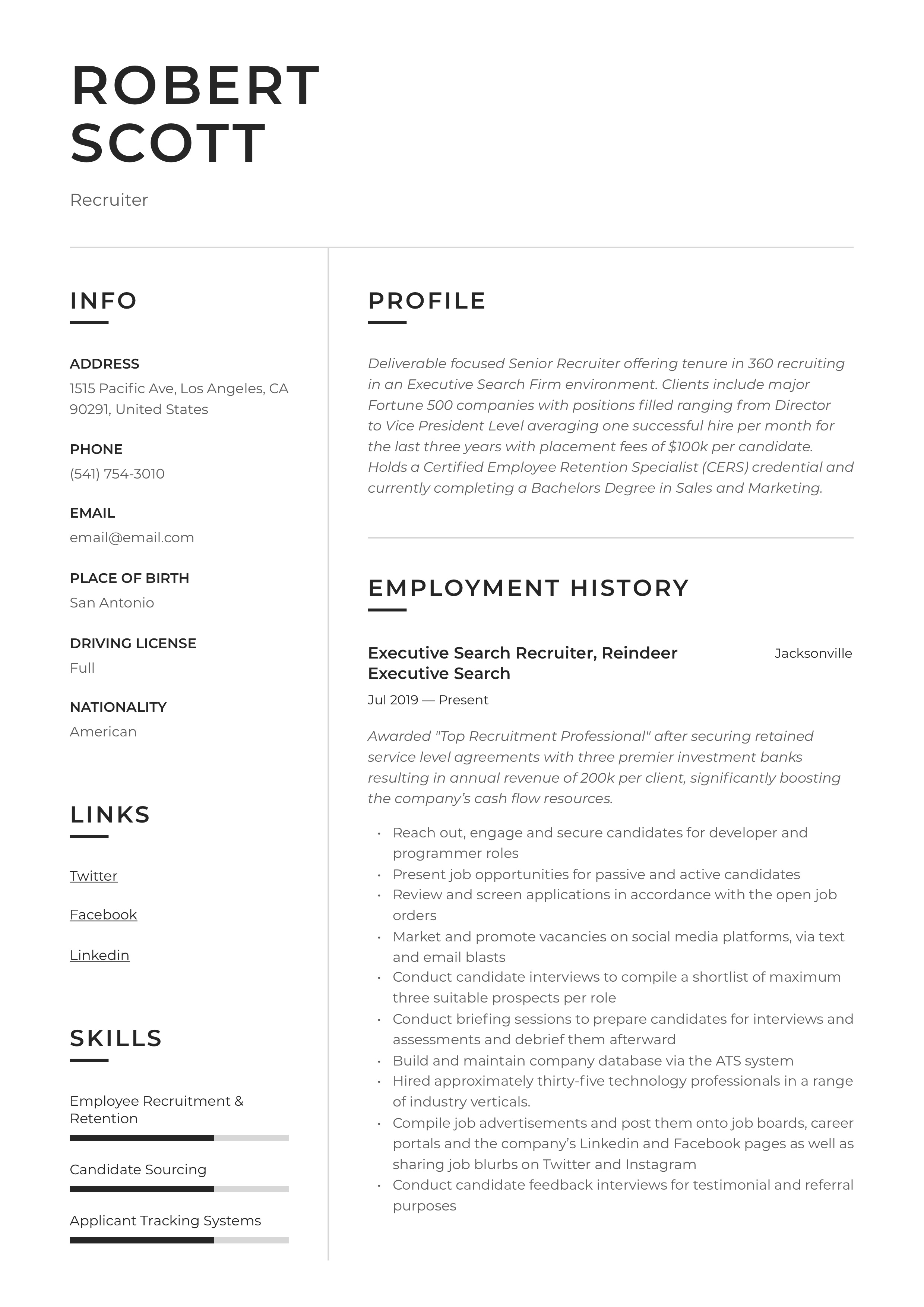 Resume Example Recruiter