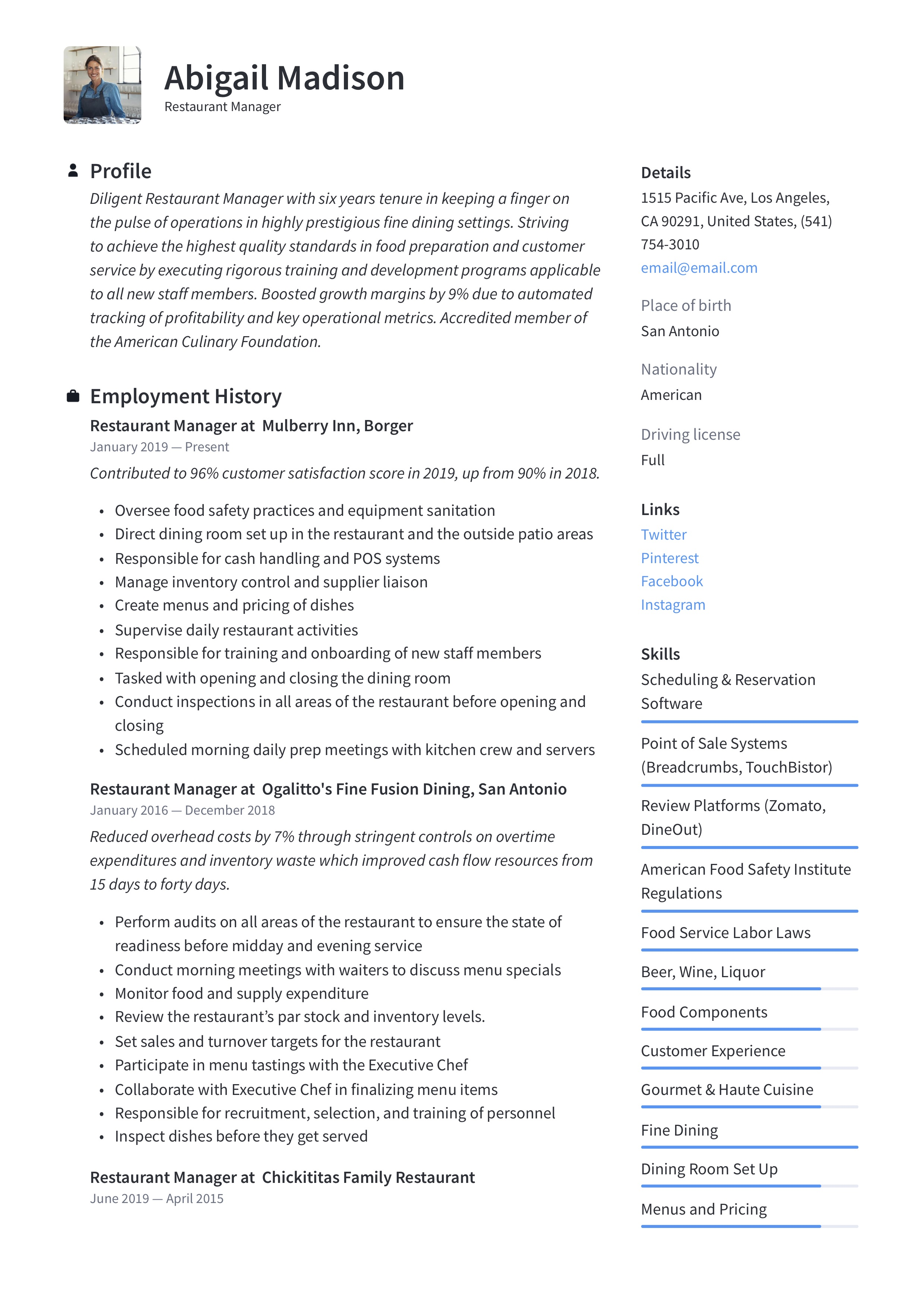 Restaurant Manager Resume & Writing Guide | +12 Examples | 2019