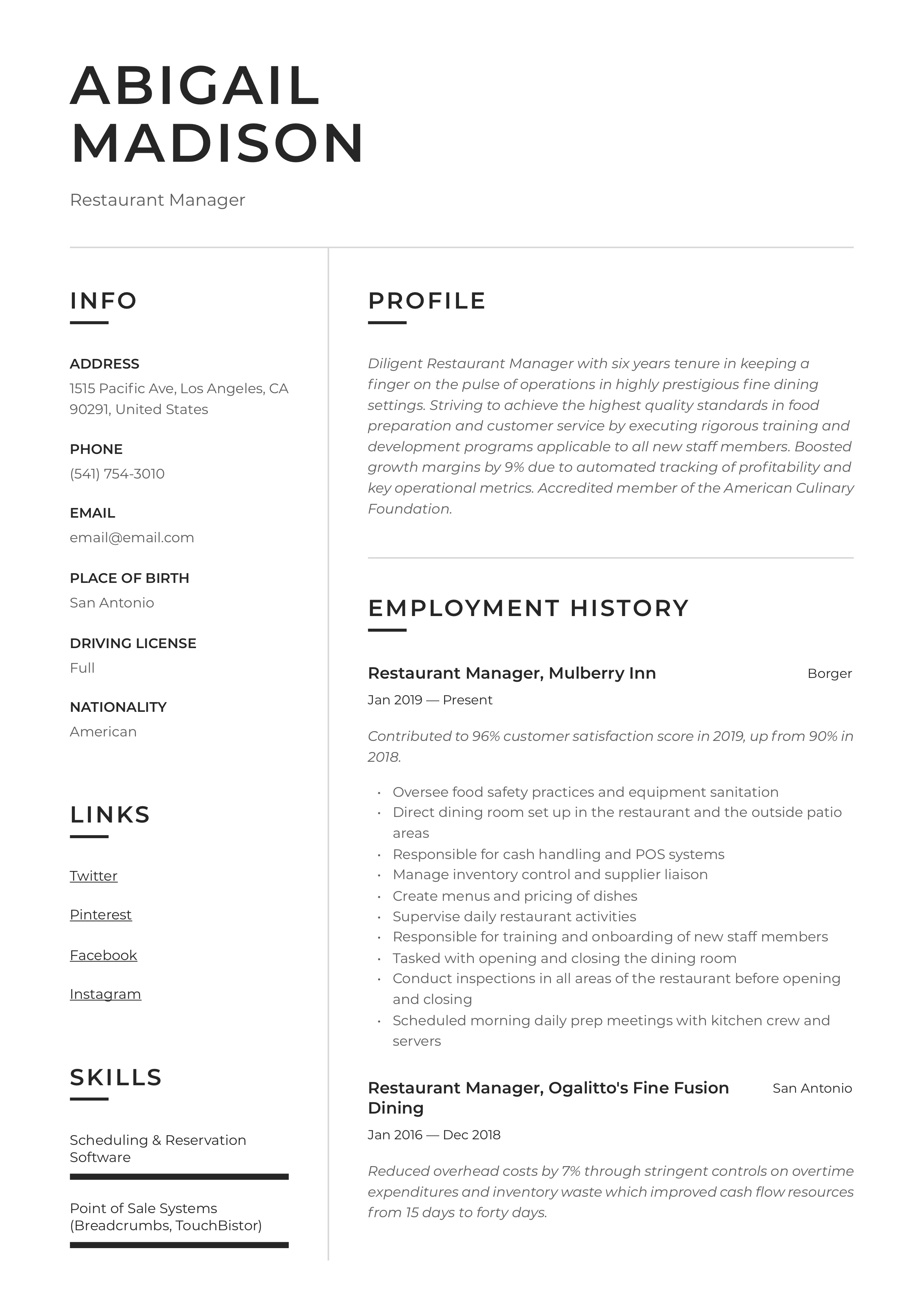 Resume Example Restaurant manager