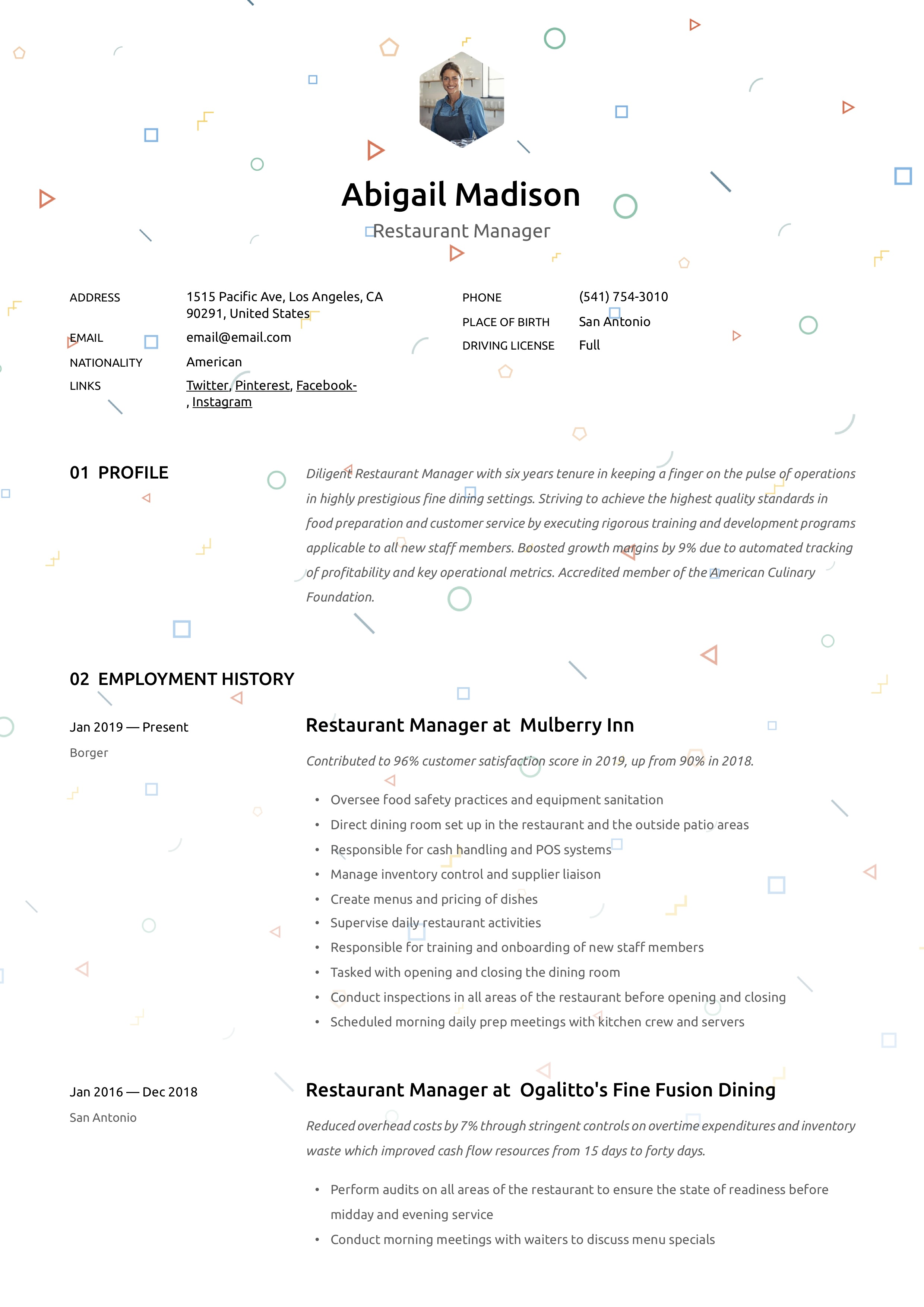 Resume Template Restaurant manager