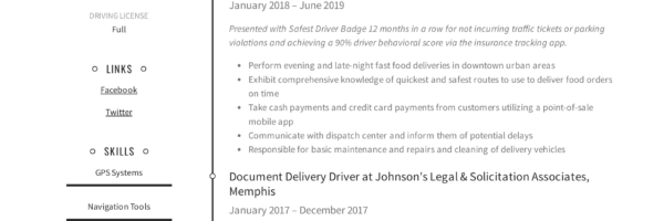 Delivery Driver Resume Writing Guide 12 Resume Examples 2020