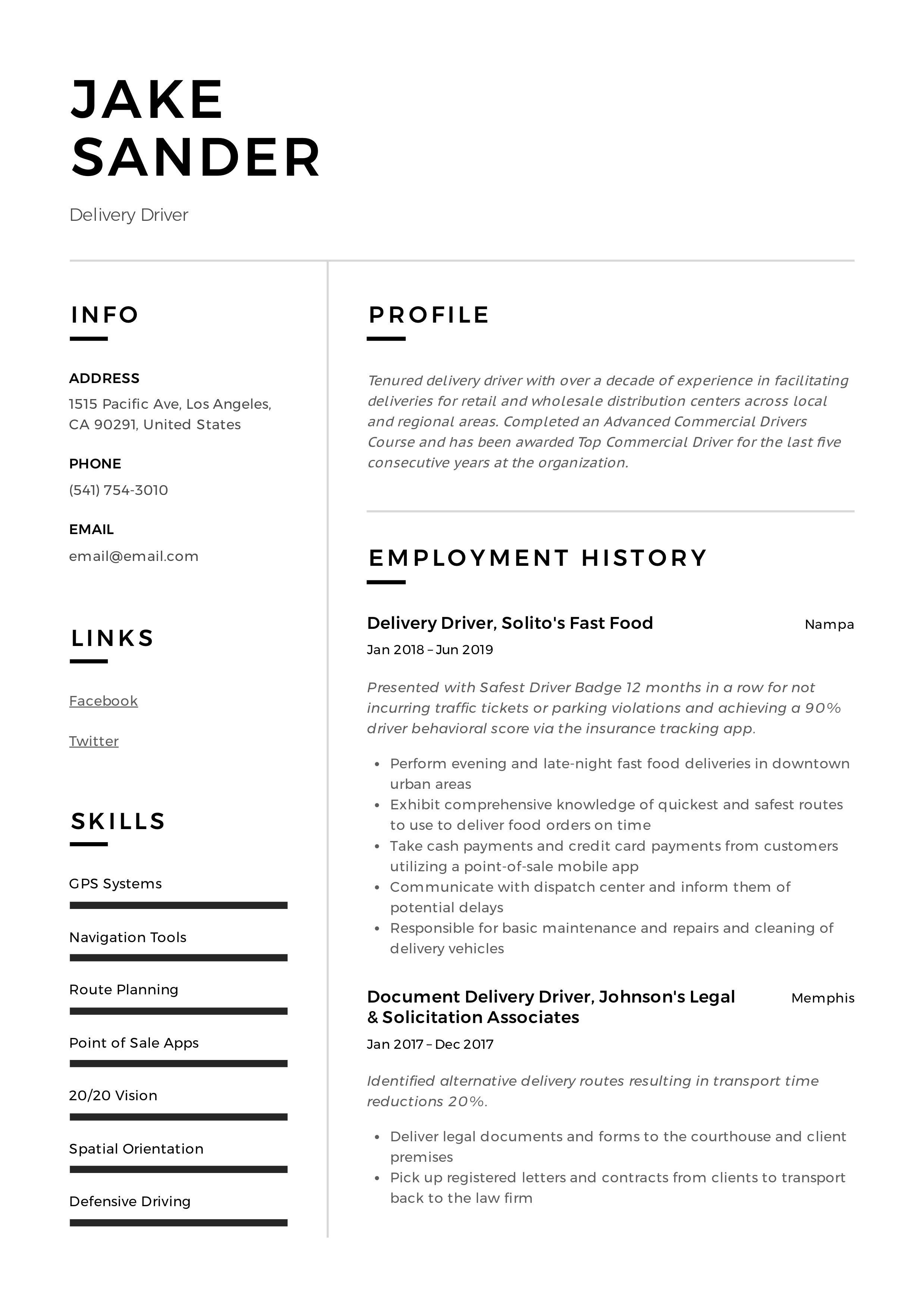 Delivery Driver Resume Amp Writing Guide 12 Resume