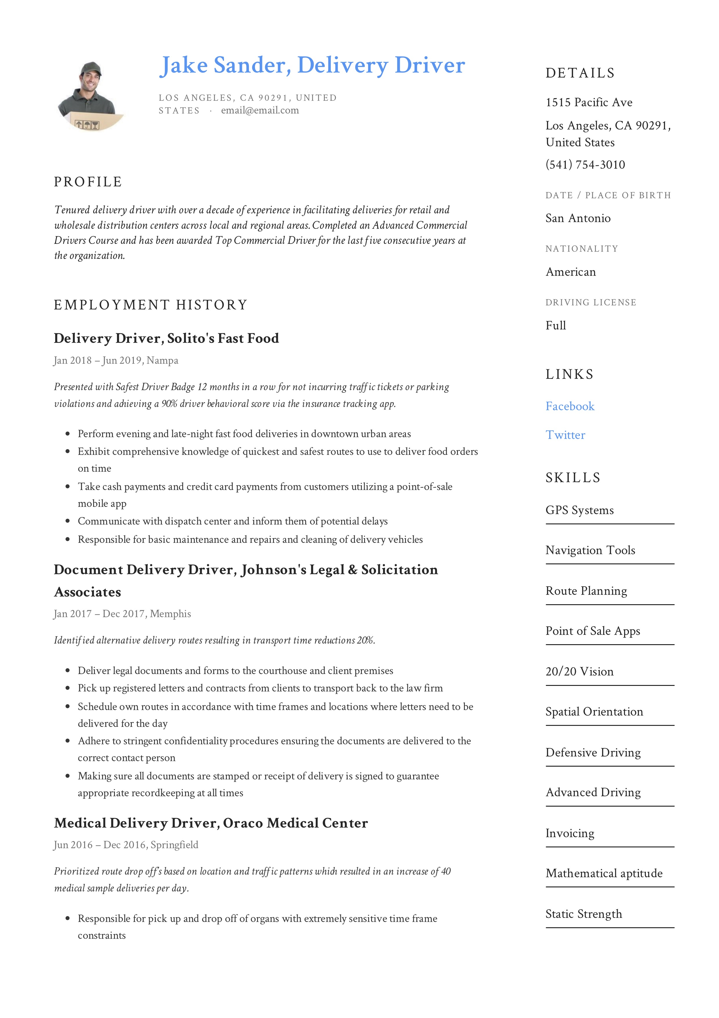 delivery driver resume  u0026 writing guide