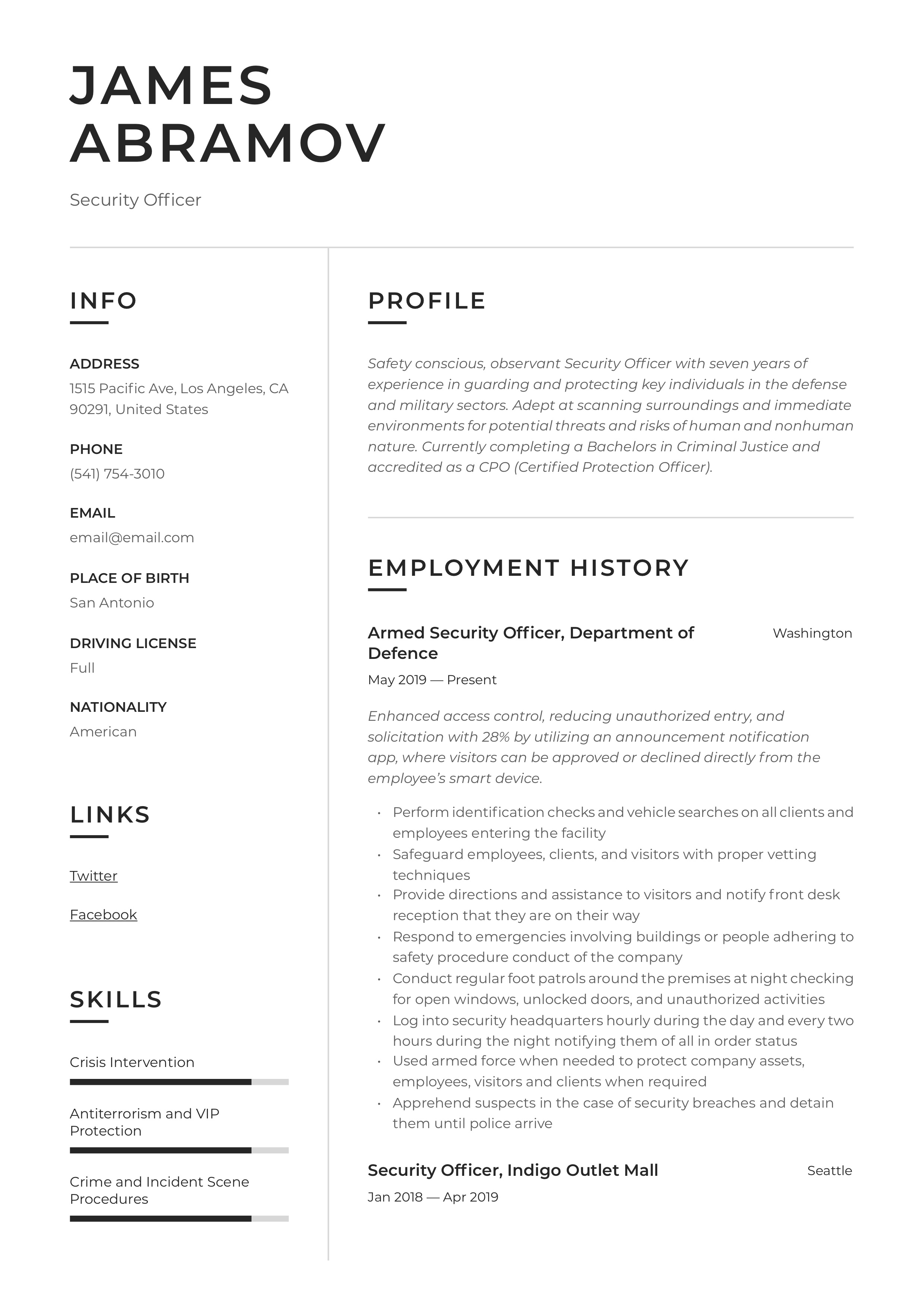 security officer resume  u0026 writing guide