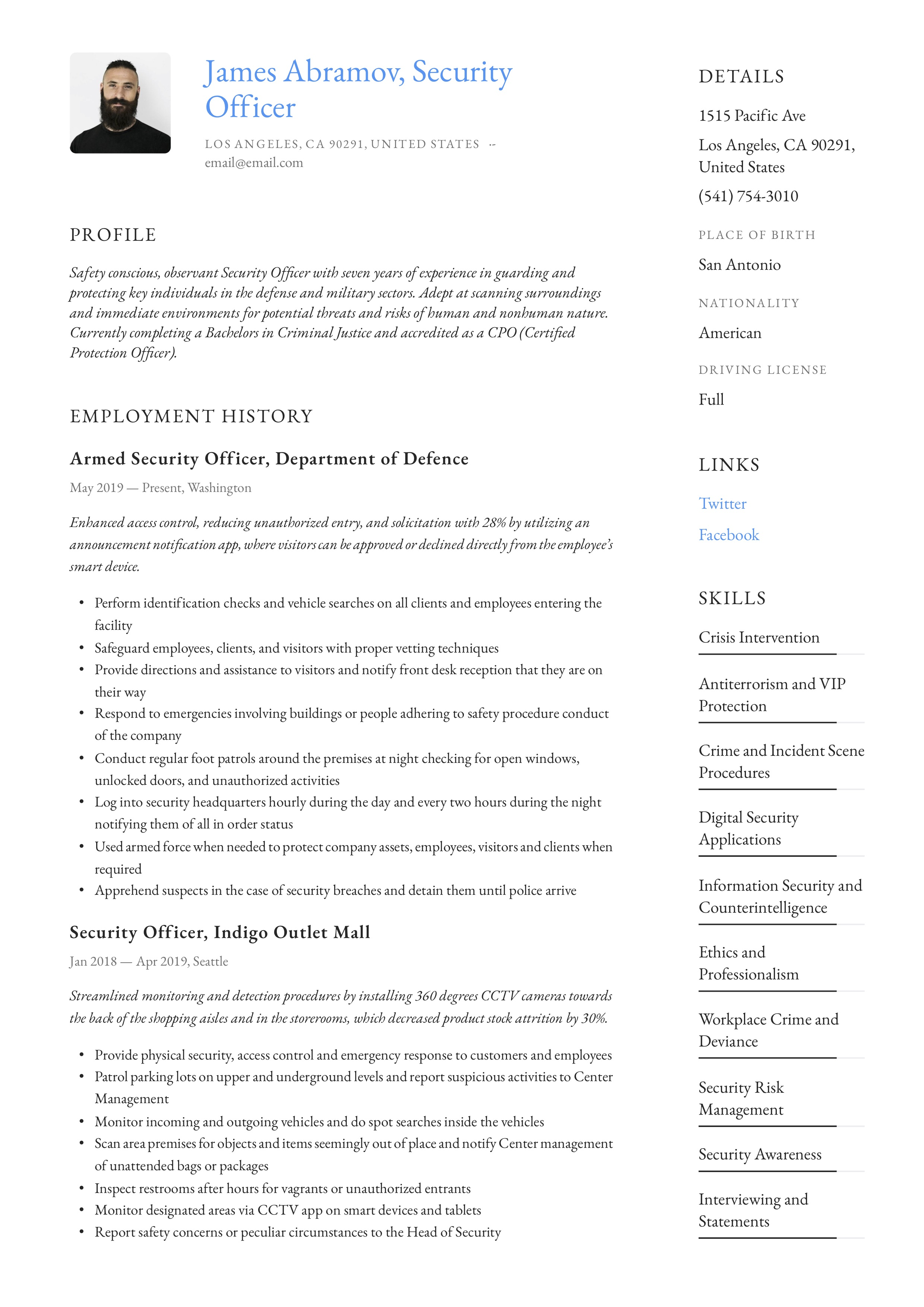 Security Officer Resume & Writing Guide | +12 Resume ...