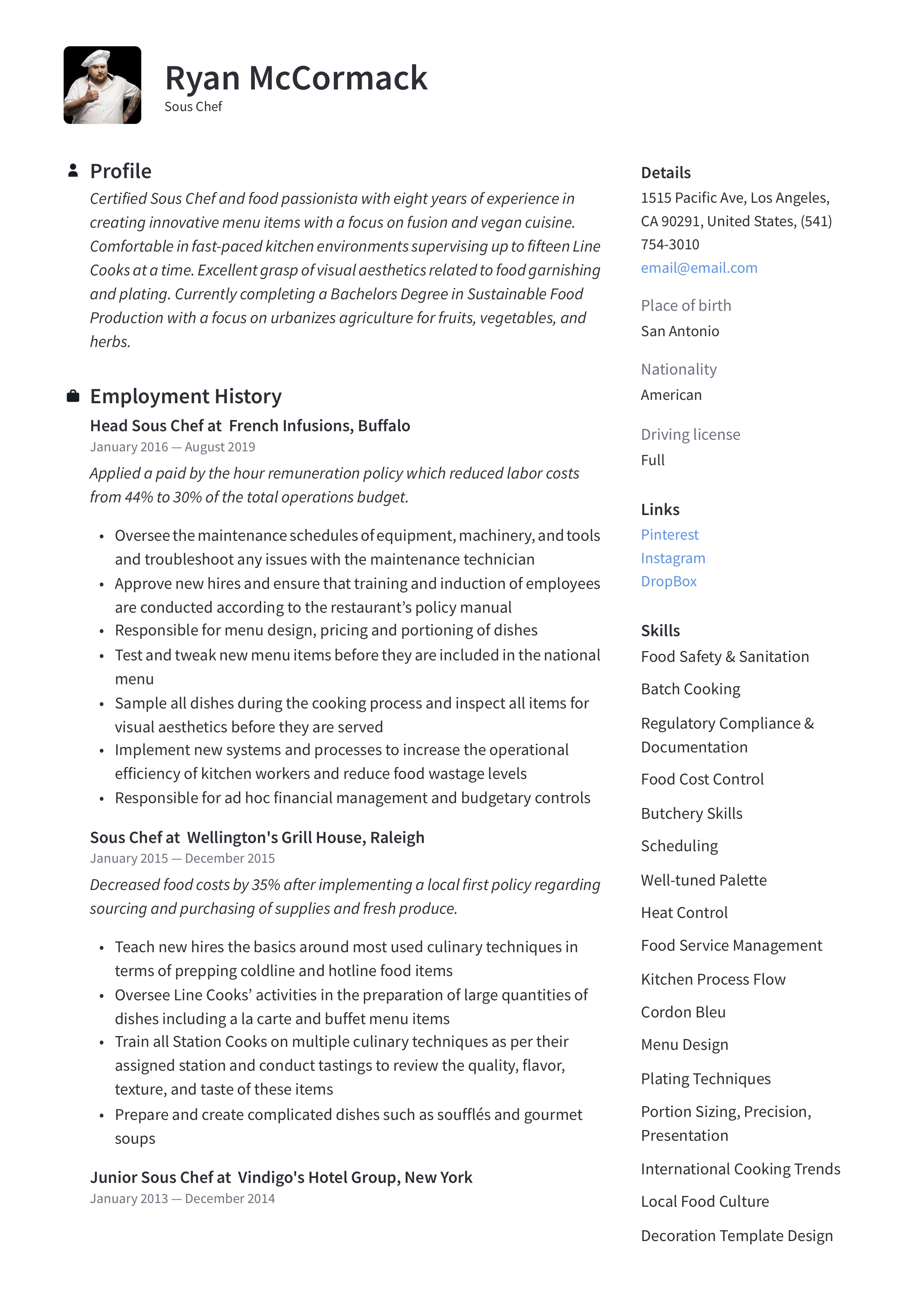Sous Chef Resume Writing Guide 12 Resume Examples