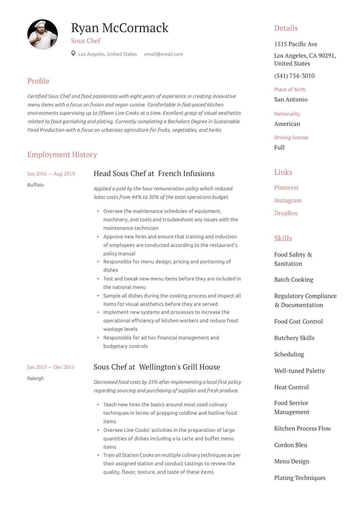 sous chef resume  writing guide  12 resume examples  2020