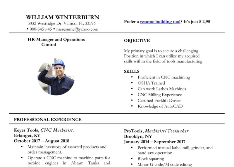 word resume sample with photo