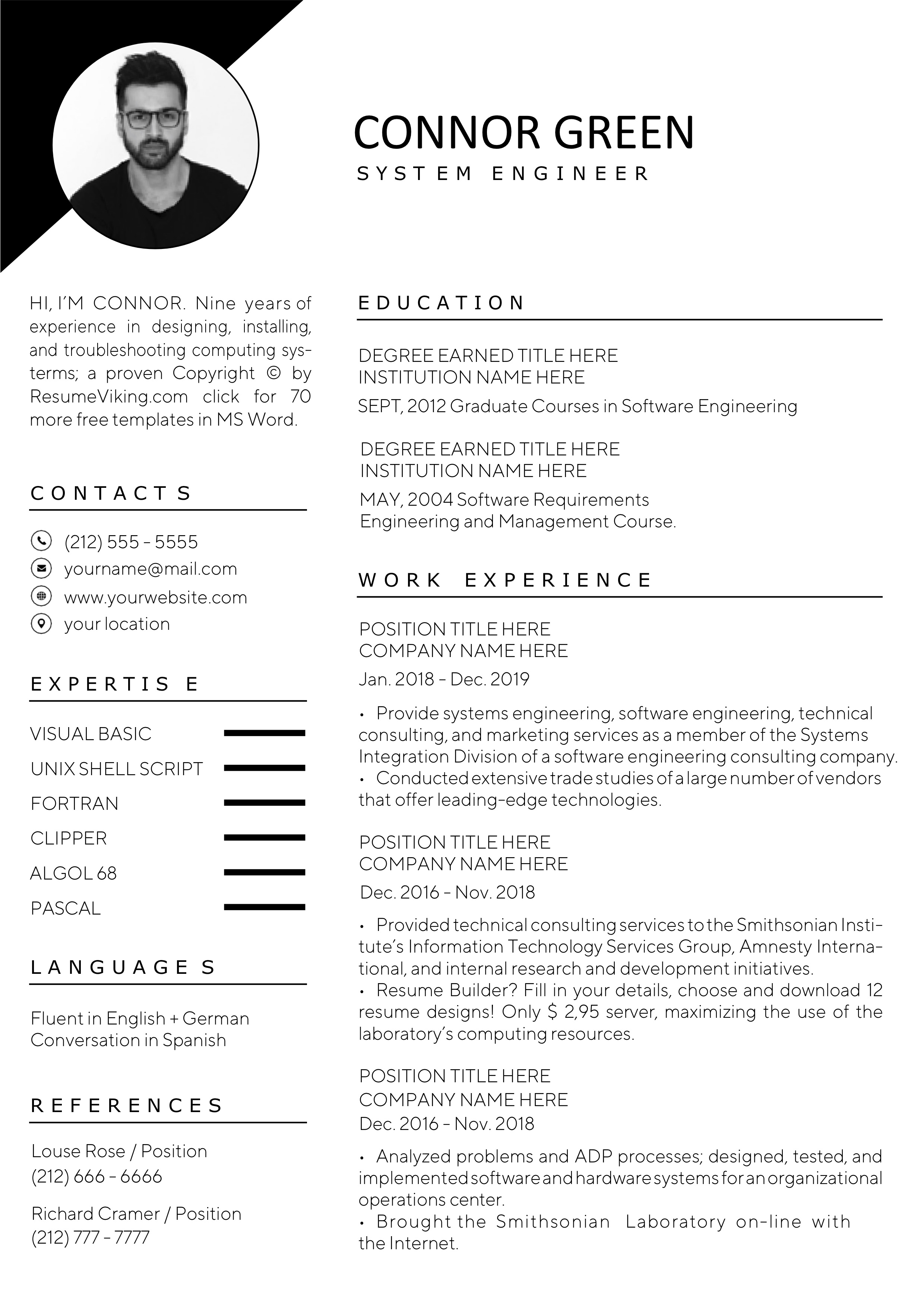 60 free word resume templates in ms word  download docx