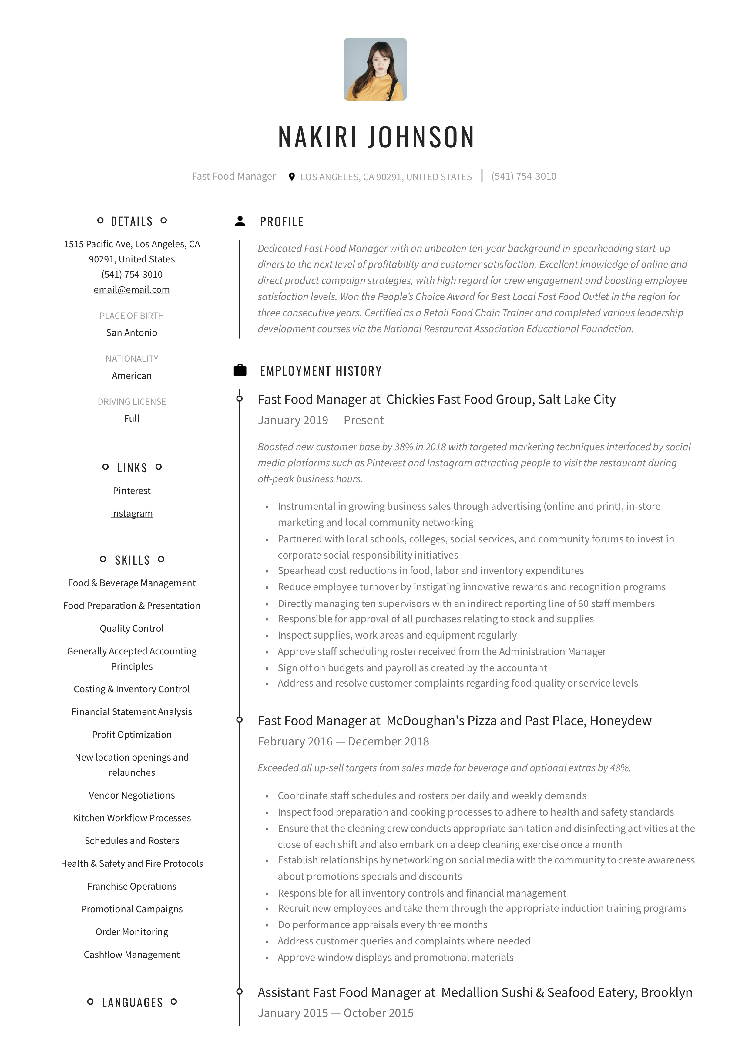 Resume Template Fast Food Manager