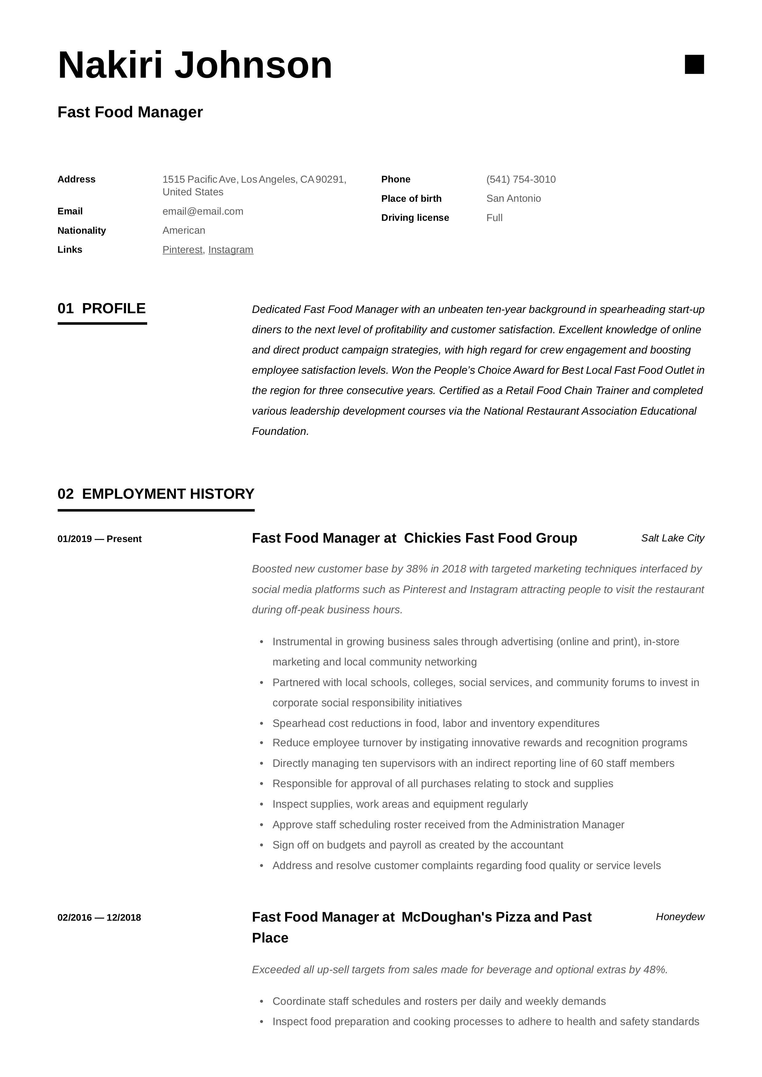 fast food manager resume  u0026 writing guide