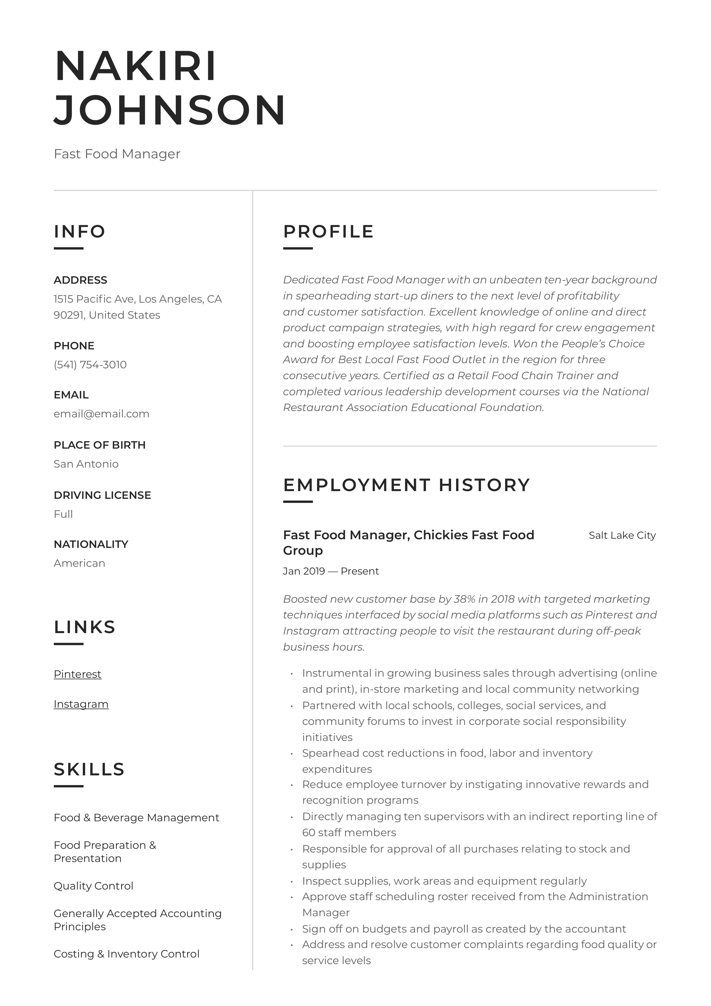 Resume Example Fast Food Manager