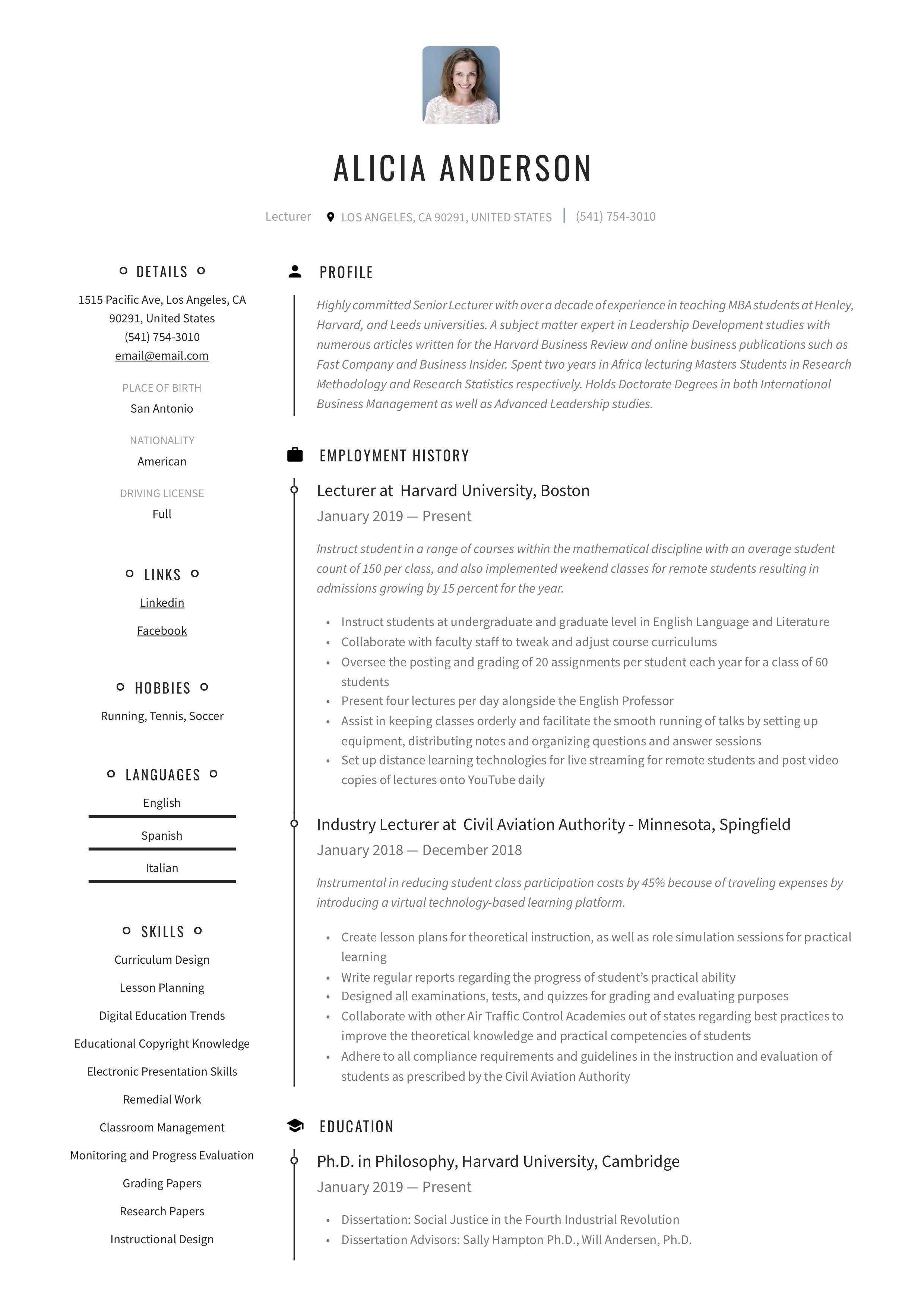 Lecturer Resume Writing Guide 18 Free Examples 2020