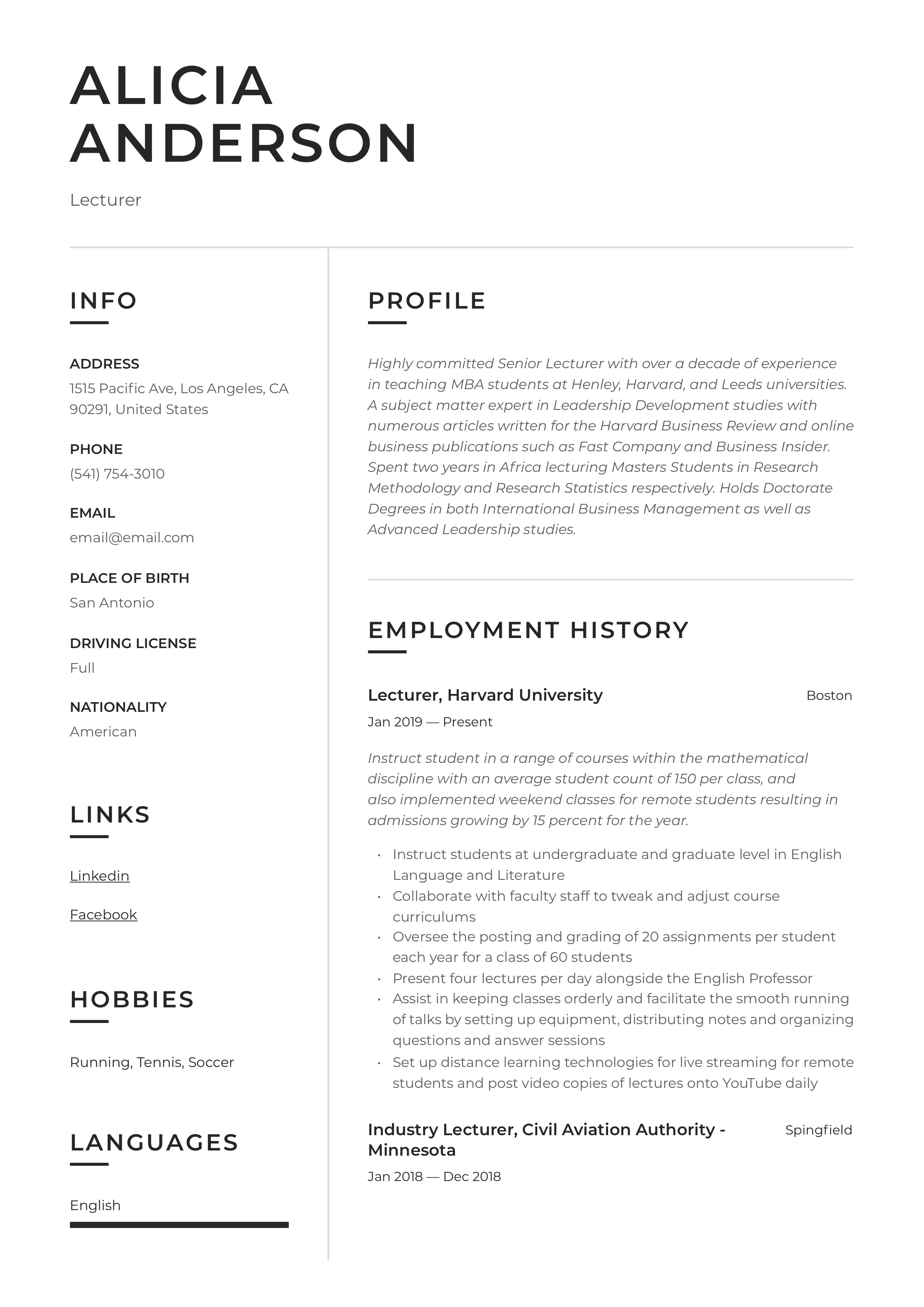 lecturer resume  u0026 writing guide