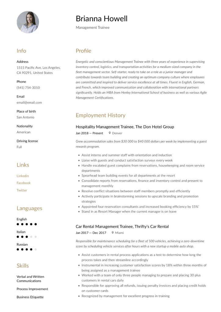 Resume Example Management Trainee
