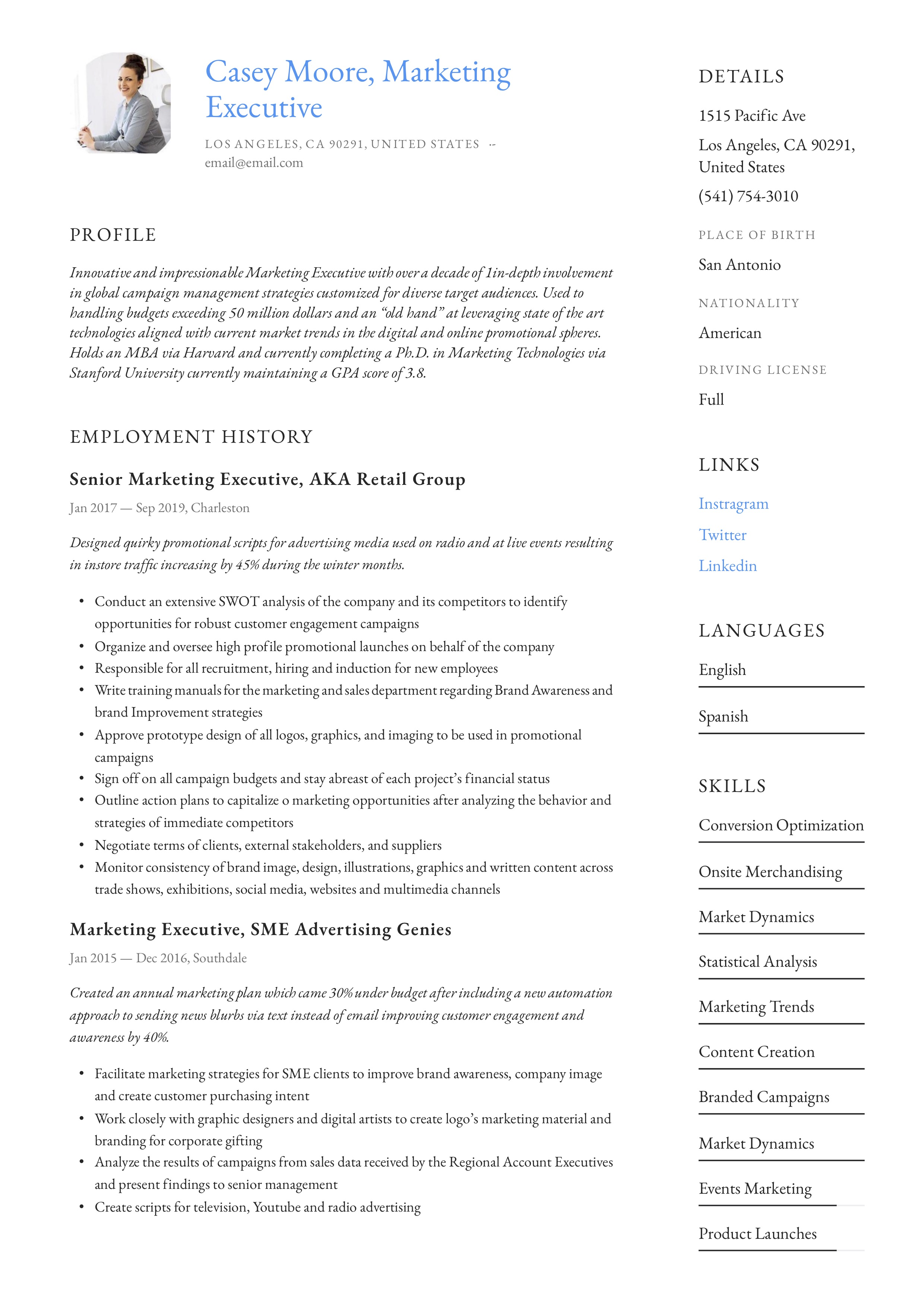 Marketing Executive Resume Writing Guide 12 Examples 2020