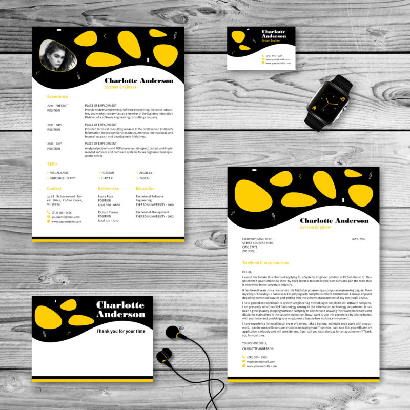 Resume and cover letter pack black orange yellow