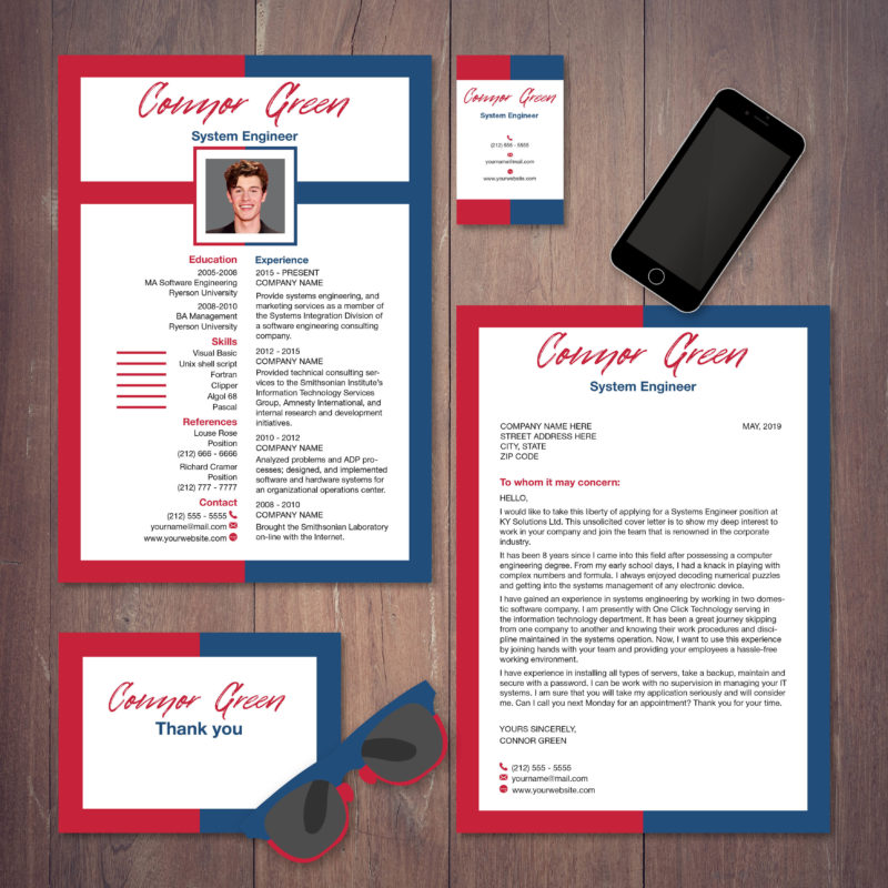 red and blue colored resume with cover letter and business card