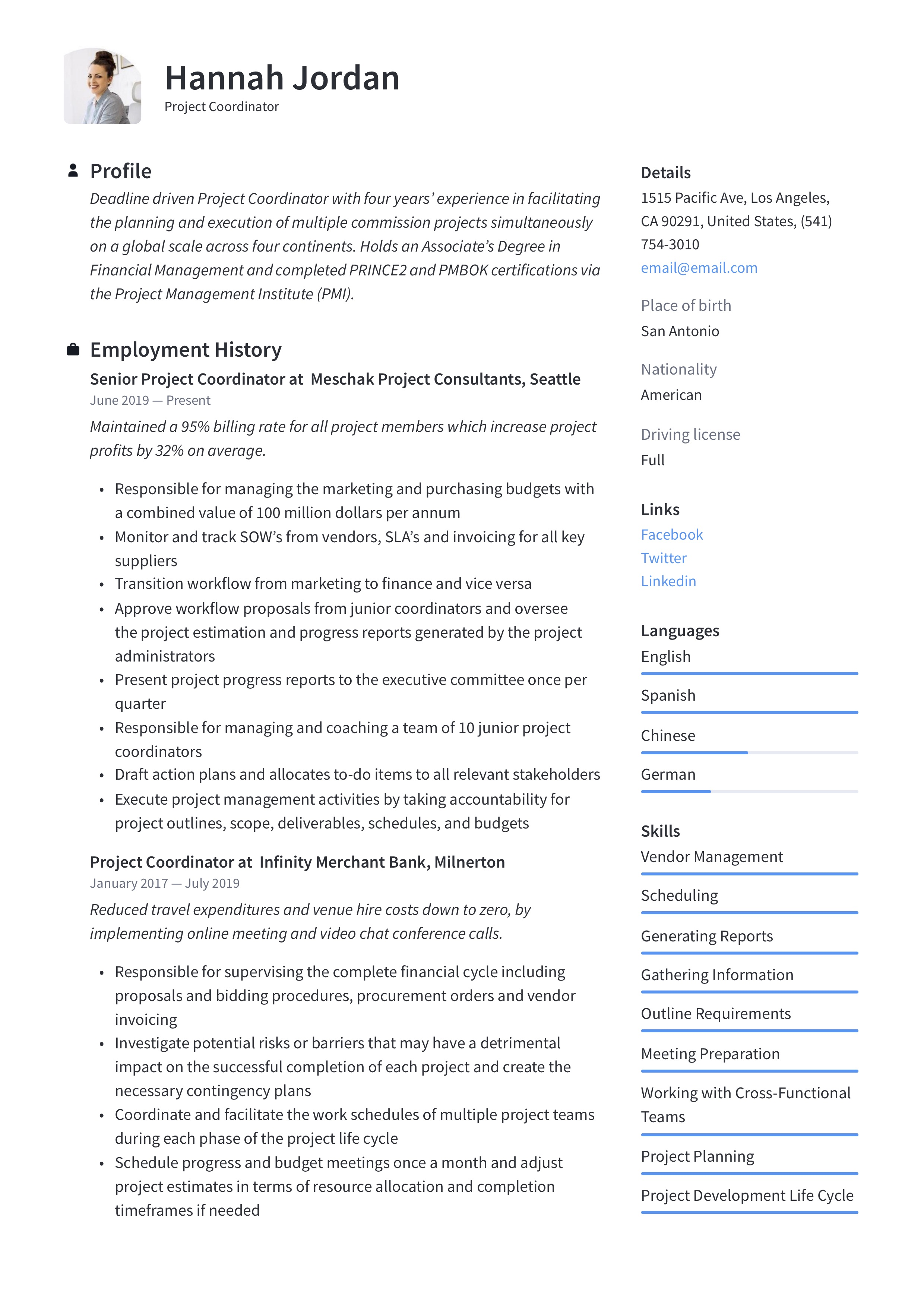 Project Coordinator Resume Amp Writing Guide 12 Examples