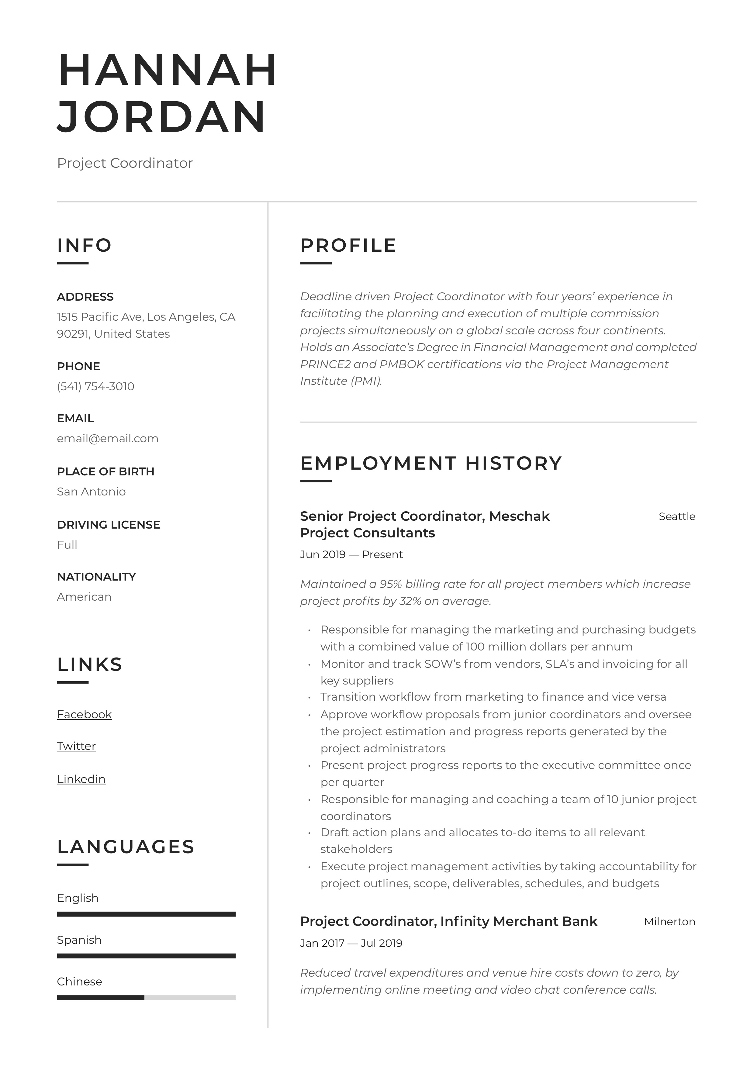 Project Coordinator Resume Writing Guide 12 Examples 2020