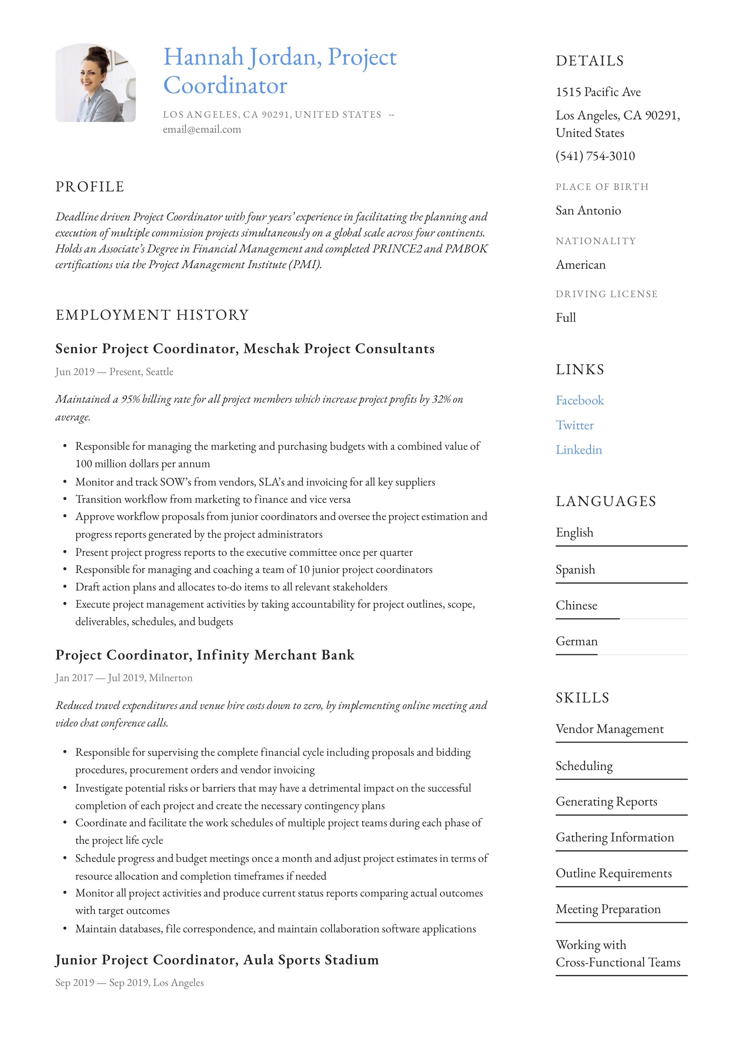 project coordinator resume  u0026 writing guide