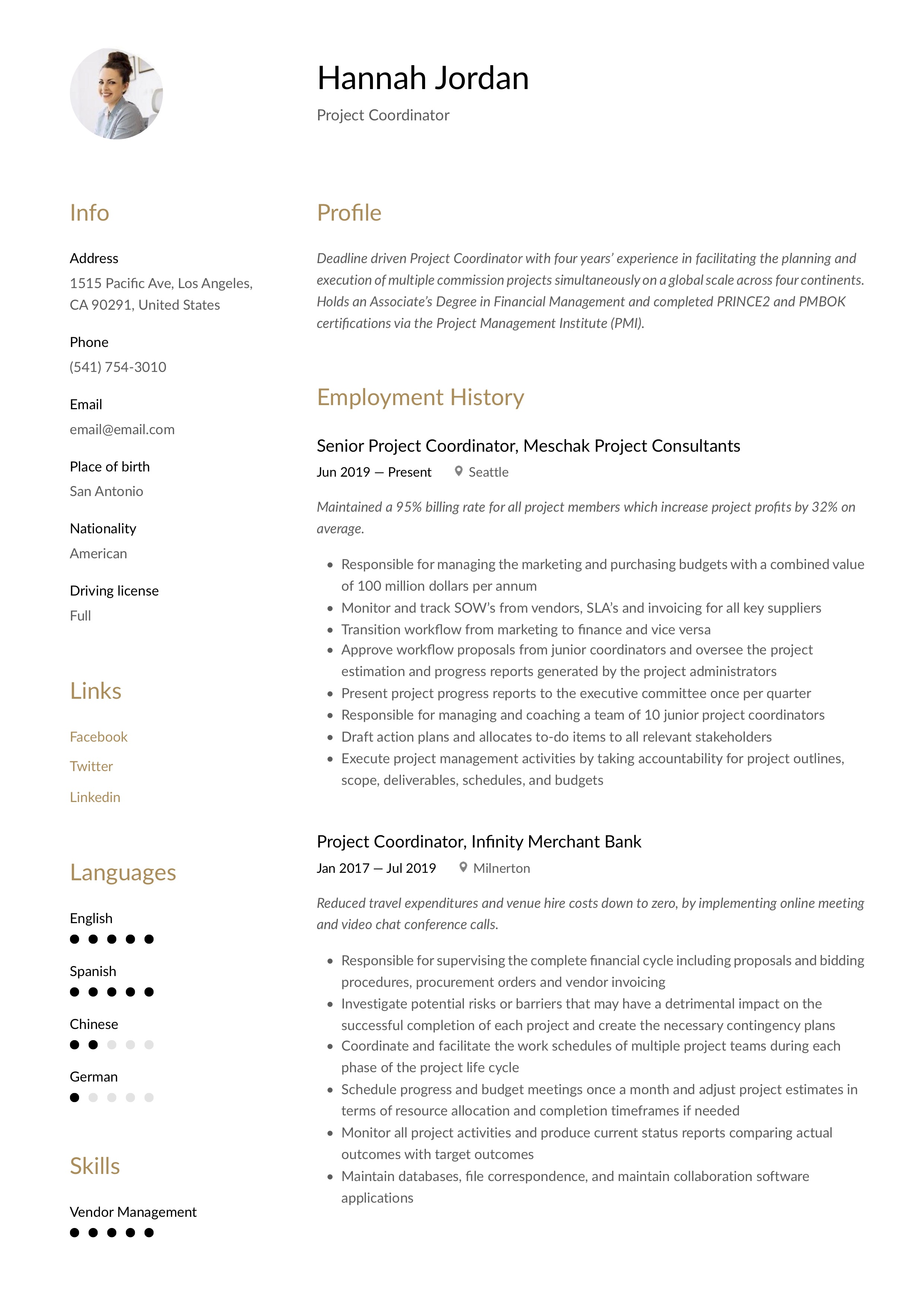 Resume Example Project Coordinator