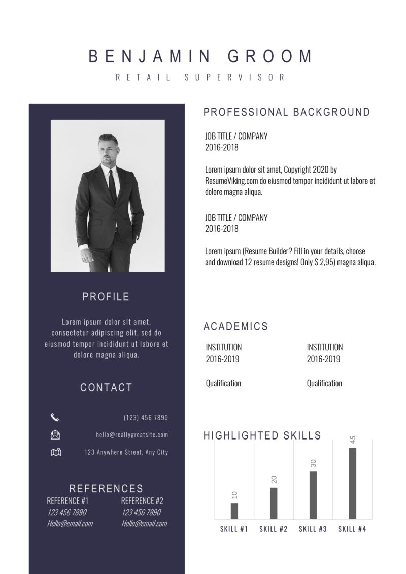 two tone formal design resume