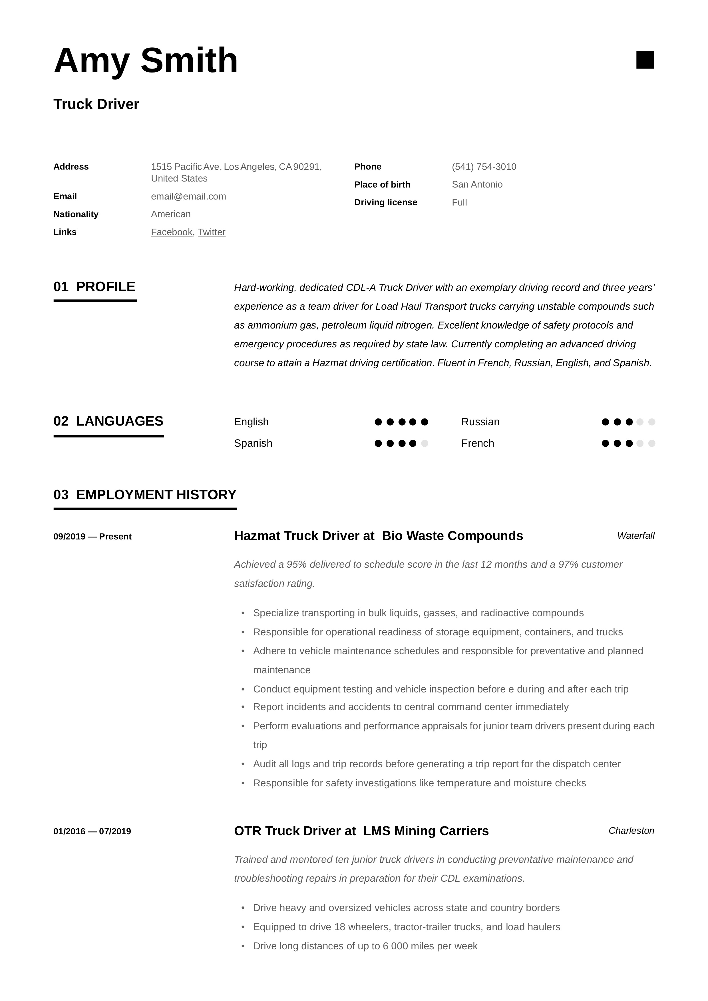 truck driver resume  u0026 writing guide