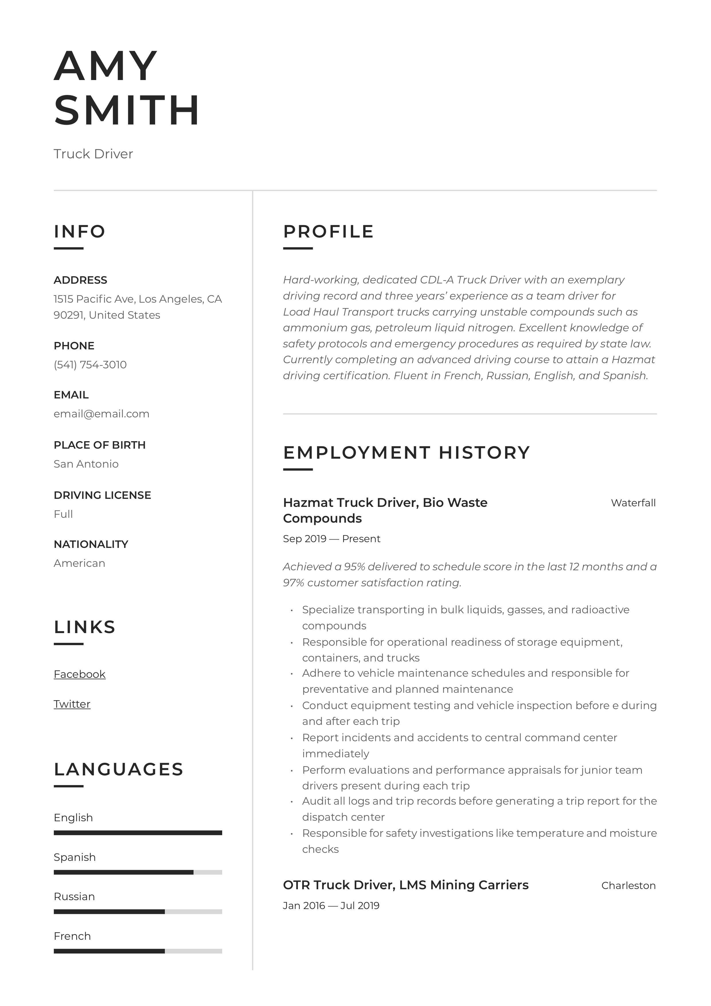 Truck Driver Resume Writing Guide 12 Resume Examples 2019