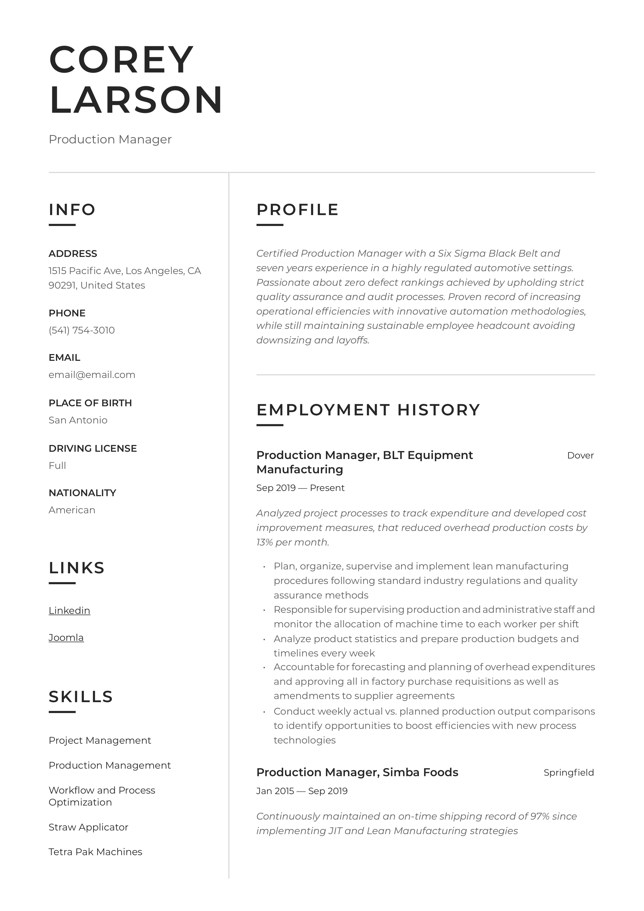 Production Manager Resume Writing Guide 12 Templates 2020