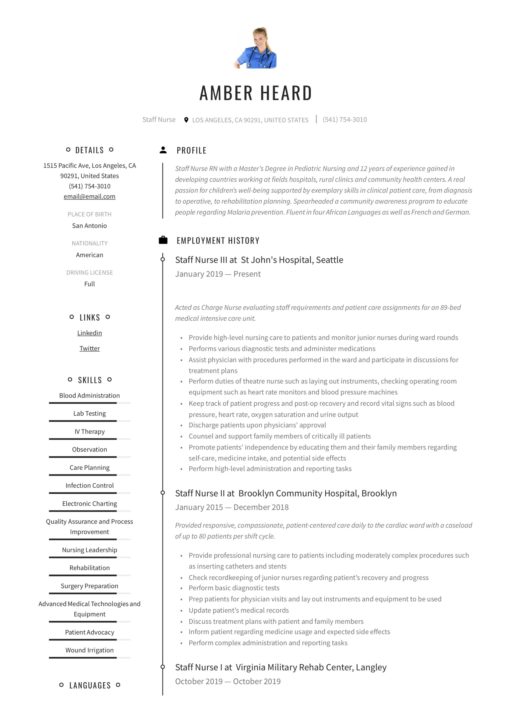staff nurse resume  u0026 writing guide