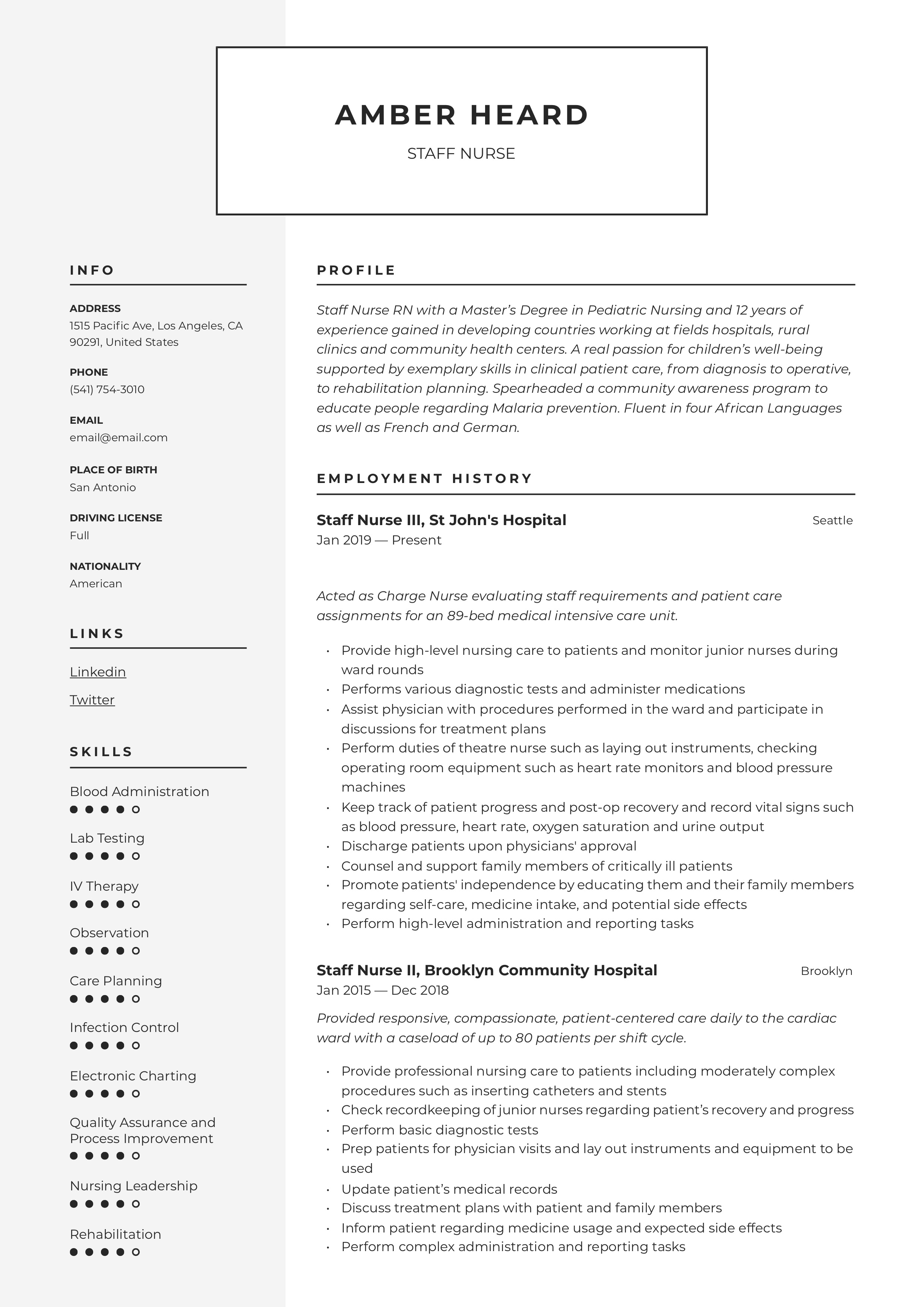 Staff Nurse Resume Amp Writing Guide 12 Templates In Pdf