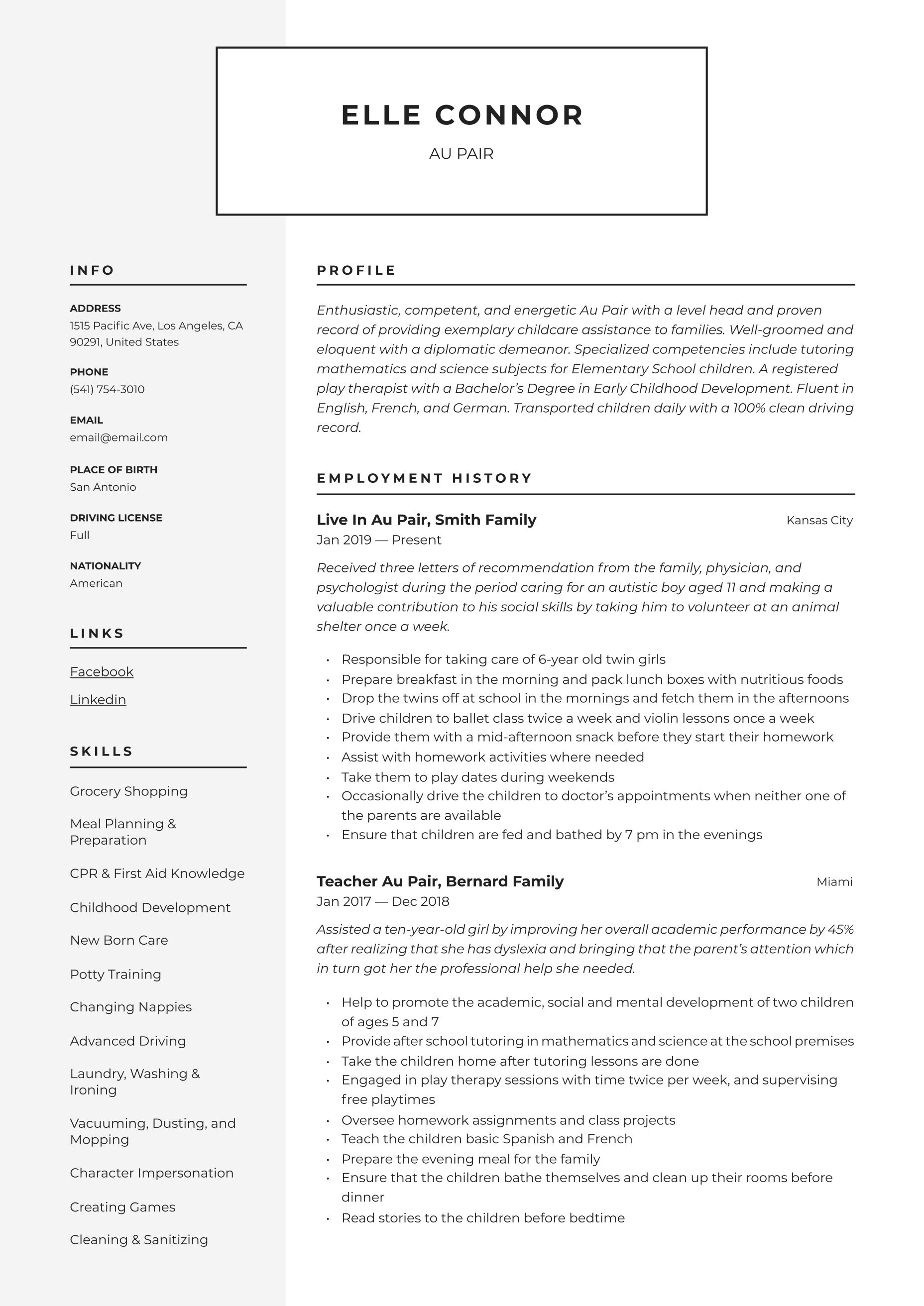 Au Pair Resume Amp Writing Guide 12 Resume Templates 2020