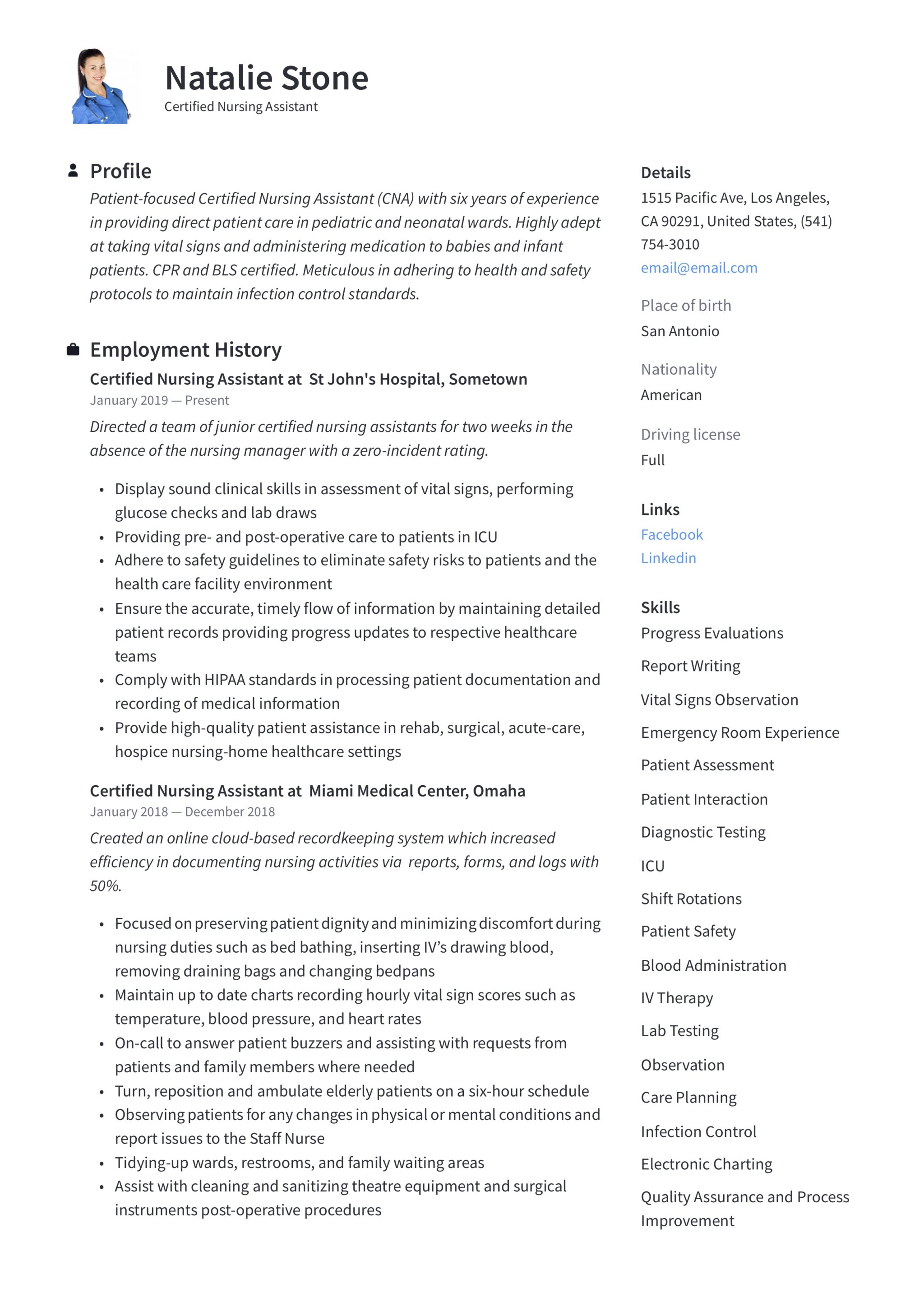 Certified Nursing Assistant Resume Writing Guide 12 Templates