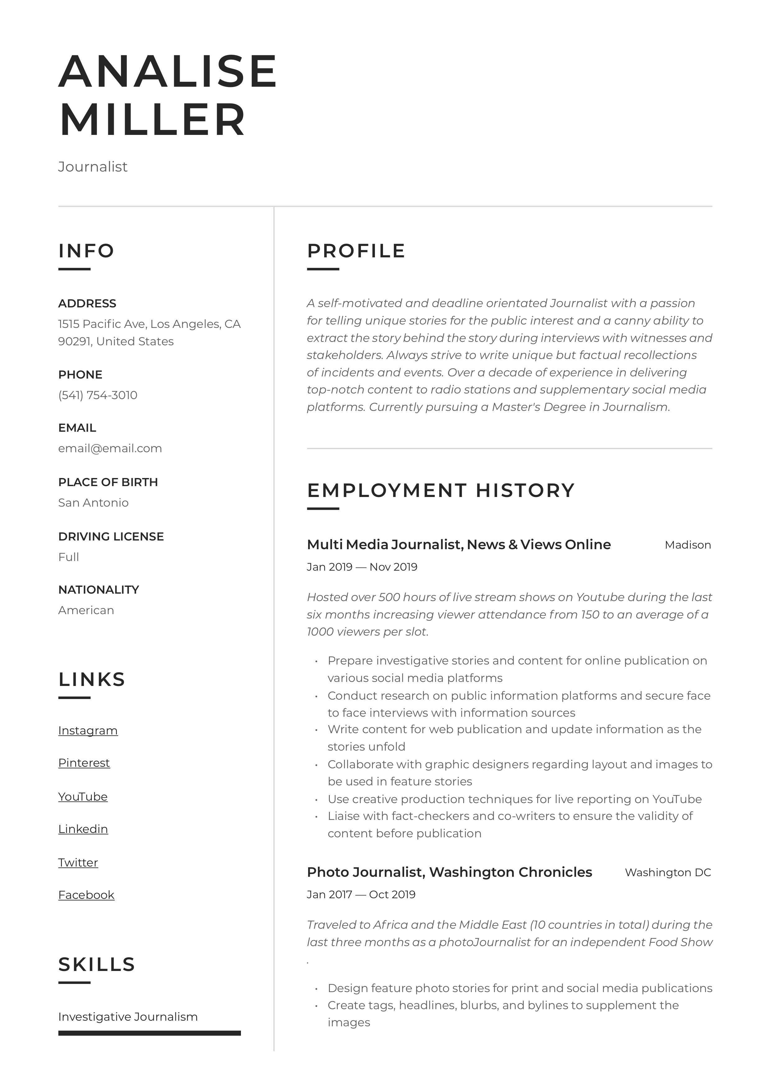 Journalist resume examples top application letter writer site usa