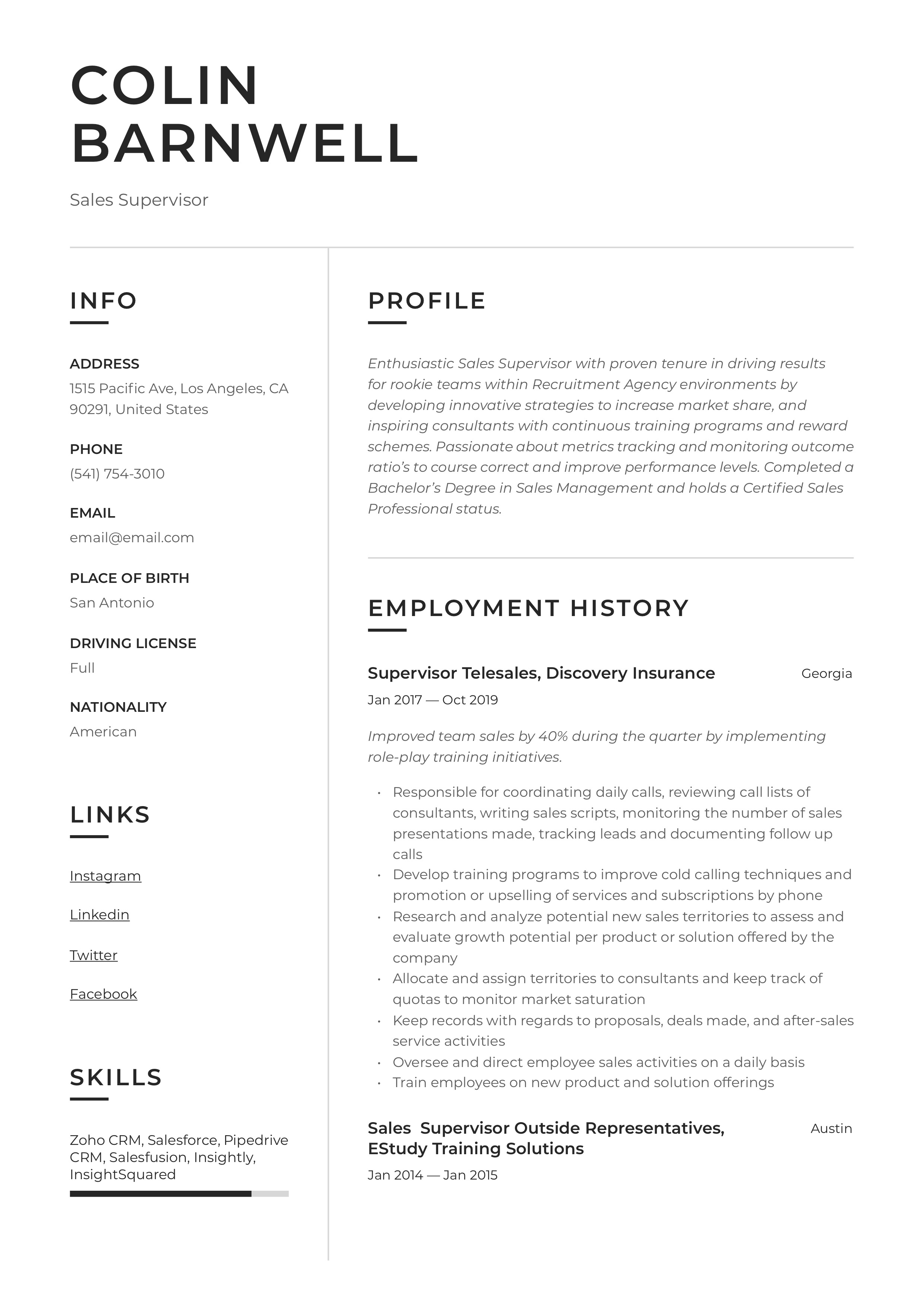 Resume Template Sales Supervisor