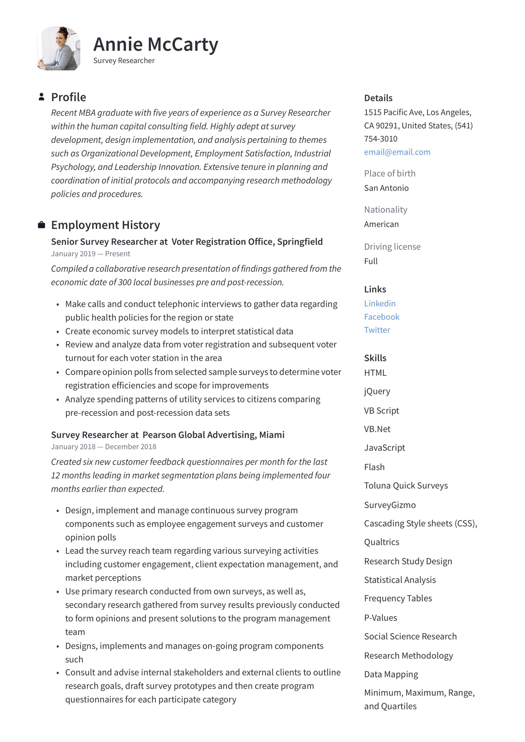 Survey Researcher Resume Writing Guide 12 Templates 2020