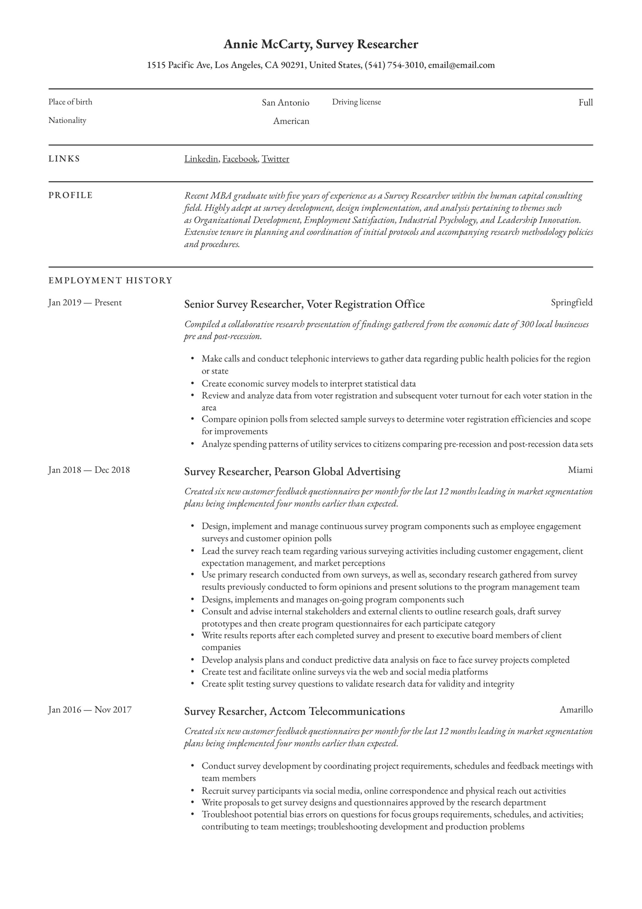 Survey researcher Resume Example