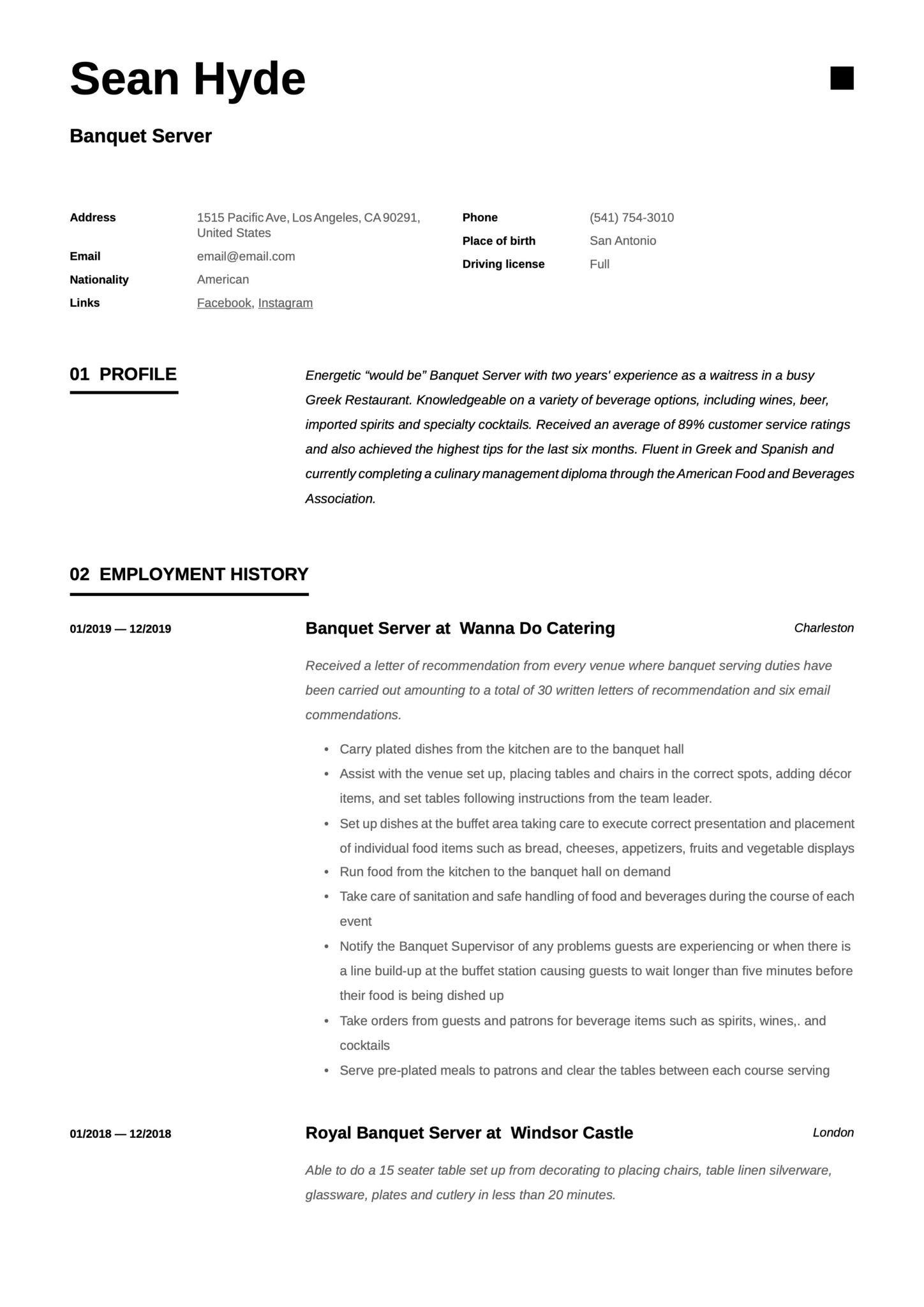 banquet server resume  writing guide  12 free examples