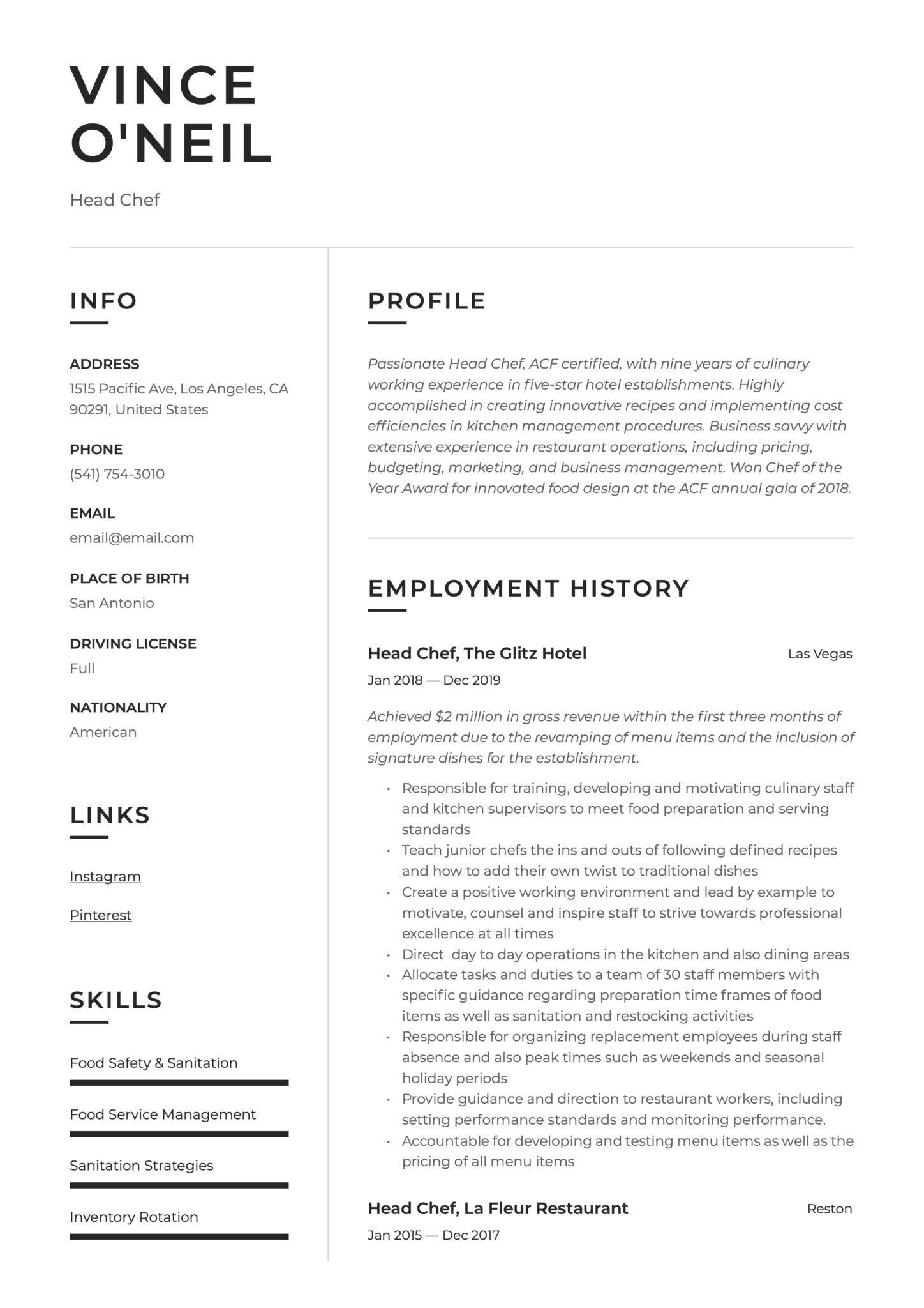 Head Chef Resume Amp Writing Guide 12 Templates 2020